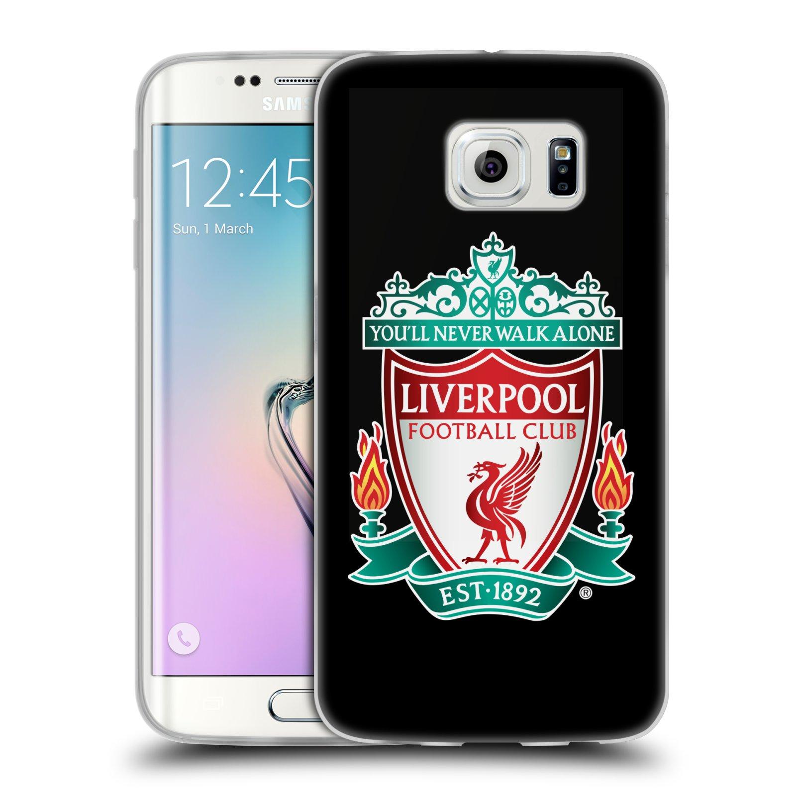 Silikonové pouzdro na mobil Samsung Galaxy S6 Edge HEAD CASE ZNAK LIVERPOOL FC OFFICIAL BLACK (Silikonový kryt či obal na mobilní telefon Liverpool FC Official pro Samsung Galaxy S6 Edge SM-G925F)