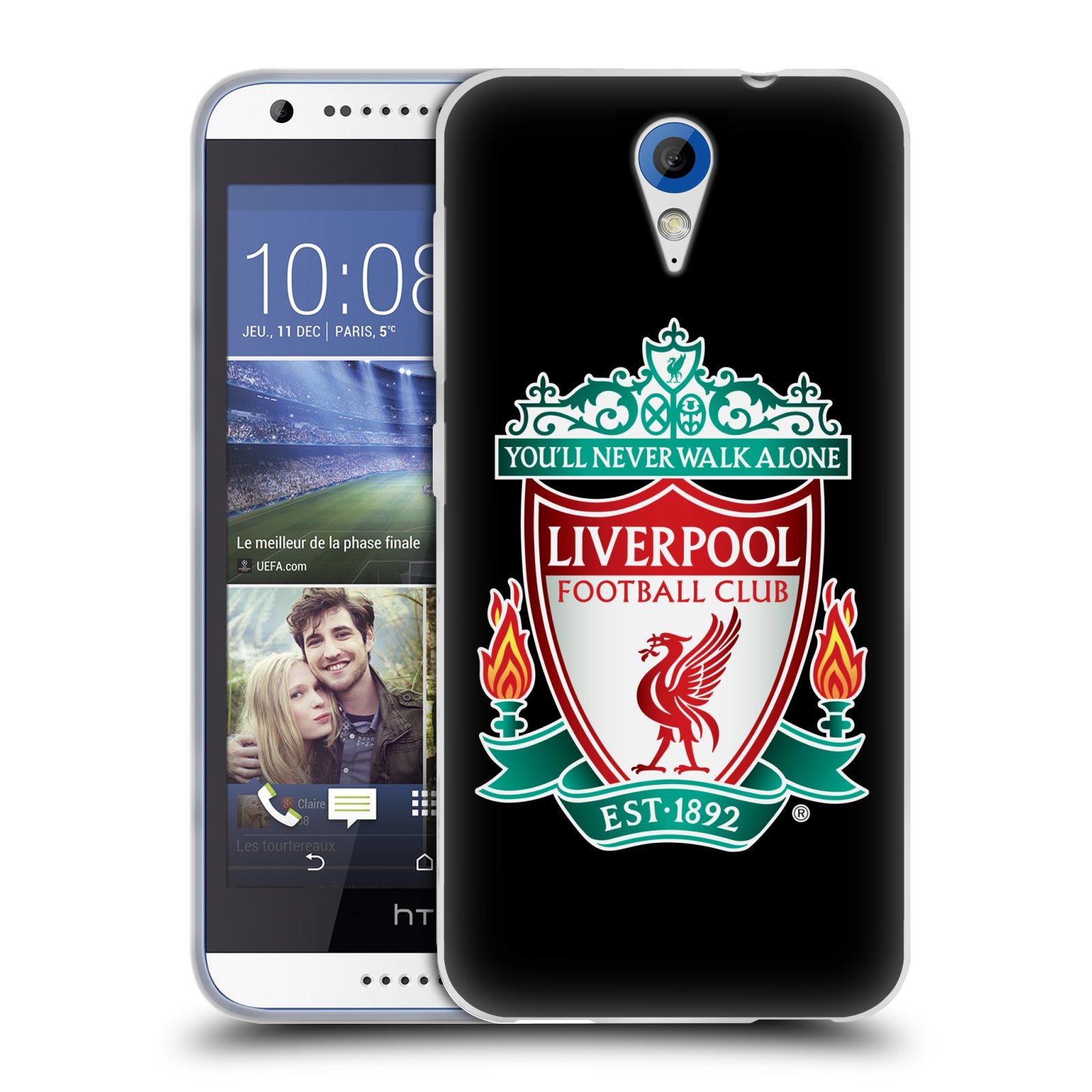 Silikonové pouzdro na mobil HTC Desire 620 HEAD CASE ZNAK LIVERPOOL FC OFFICIAL BLACK (Silikonový kryt či obal na mobilní telefon Liverpool FC Official pro HTC Desire 620)