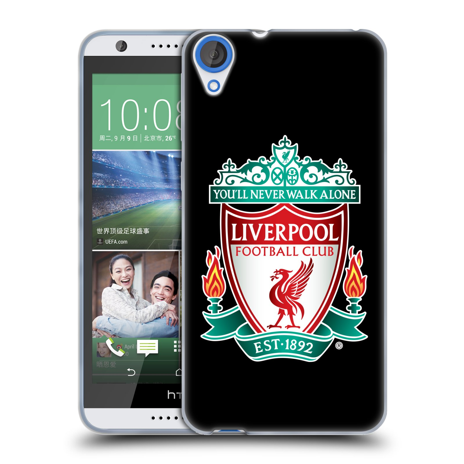 Silikonové pouzdro na mobil HTC Desire 820 HEAD CASE ZNAK LIVERPOOL FC OFFICIAL BLACK (Silikonový kryt či obal na mobilní telefon Liverpool FC Official pro HTC Desire 820)