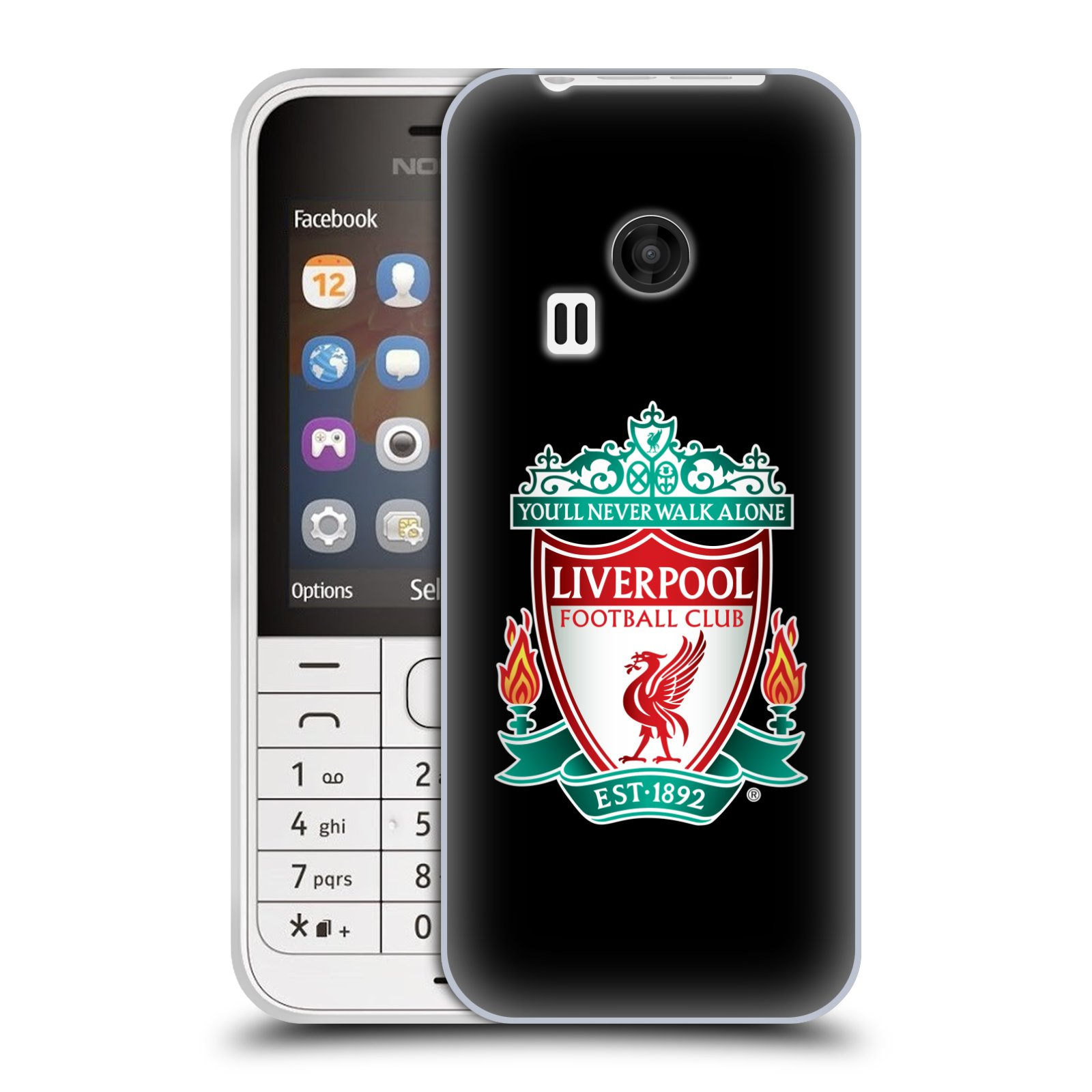Silikonové pouzdro na mobil Nokia 220 HEAD CASE ZNAK LIVERPOOL FC OFFICIAL BLACK (Silikonový kryt či obal na mobilní telefon Liverpool FC Official pro Nokia 220 a 220 Dual SIM)