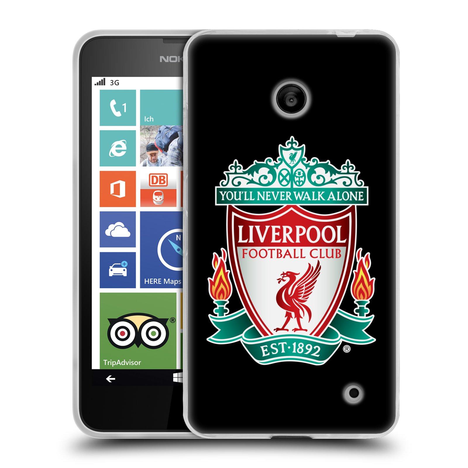 Silikonové pouzdro na mobil Nokia Lumia 630 HEAD CASE ZNAK LIVERPOOL FC OFFICIAL BLACK (Silikonový kryt či obal na mobilní telefon Liverpool FC Official pro Nokia Lumia 630 a Nokia Lumia 630 Dual SIM)