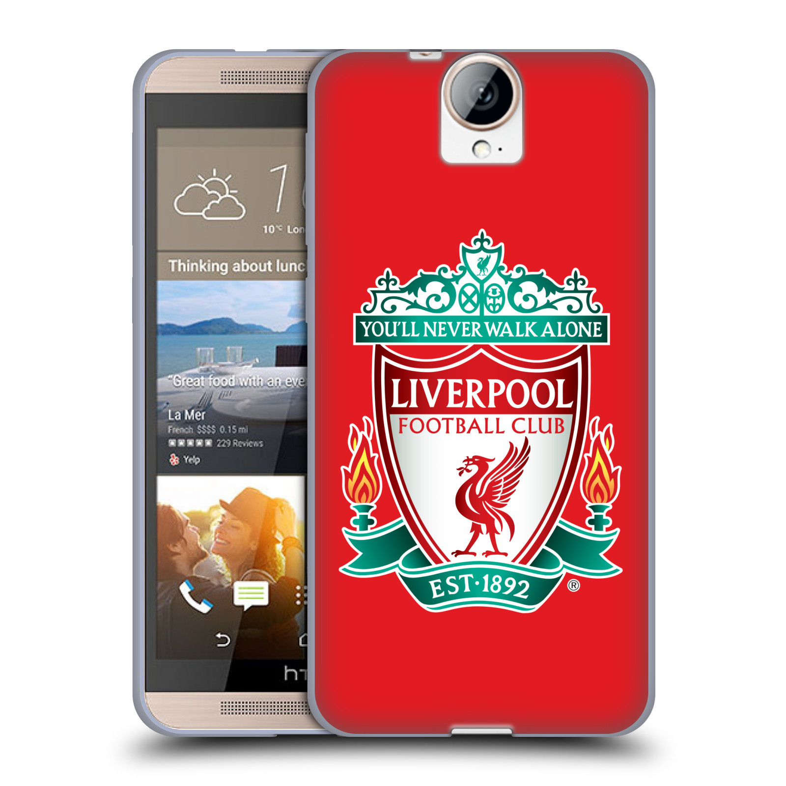 Silikonové pouzdro na mobil HTC One E9+(Plus) HEAD CASE ZNAK LIVERPOOL FC OFFICIAL RED (Silikonový kryt či obal na mobilní telefon Liverpool FC Official pro HTC One E9+)