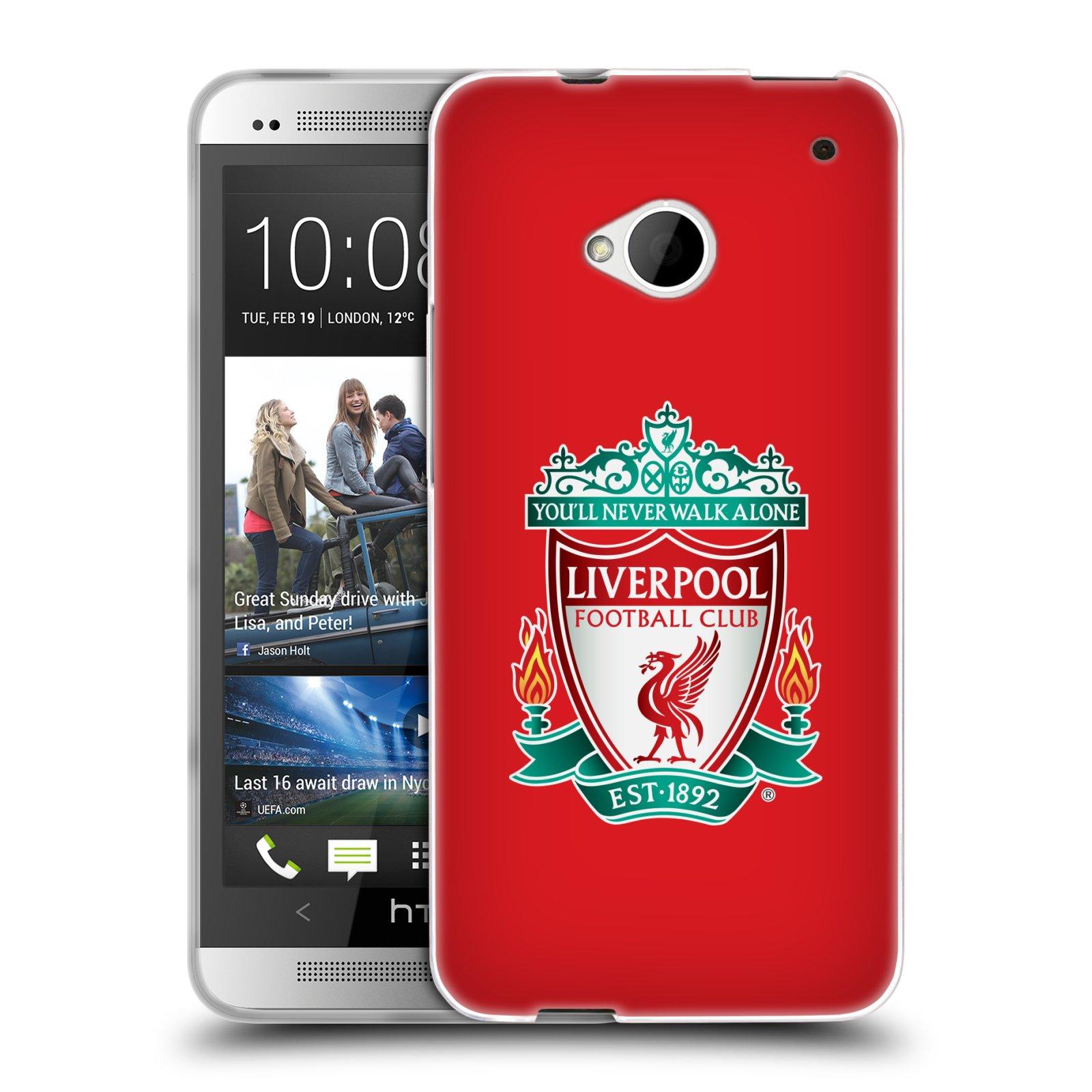 Silikonové pouzdro na mobil HTC ONE M7 HEAD CASE ZNAK LIVERPOOL FC OFFICIAL RED (Silikonový kryt či obal na mobilní telefon Liverpool FC Official pro HTC ONE M7)