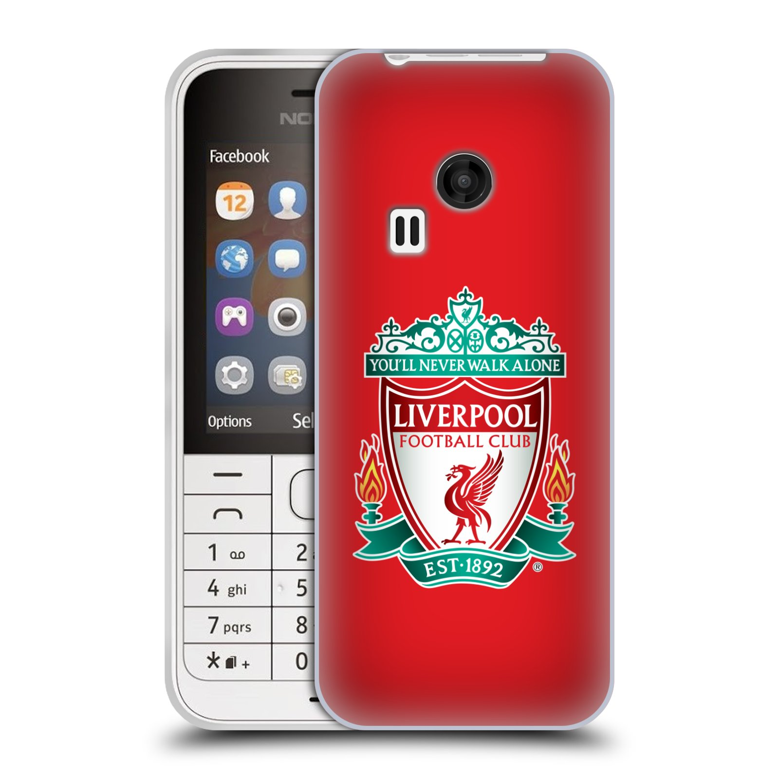 Silikonové pouzdro na mobil Nokia 220 HEAD CASE ZNAK LIVERPOOL FC OFFICIAL RED (Silikonový kryt či obal na mobilní telefon Liverpool FC Official pro Nokia 220 a 220 Dual SIM)