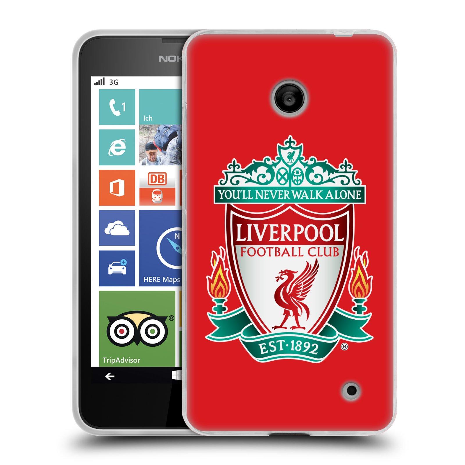 Silikonové pouzdro na mobil Nokia Lumia 630 HEAD CASE ZNAK LIVERPOOL FC OFFICIAL RED (Silikonový kryt či obal na mobilní telefon Liverpool FC Official pro Nokia Lumia 630 a Nokia Lumia 630 Dual SIM)