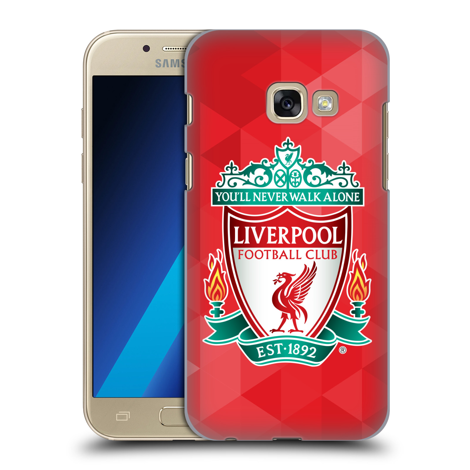 Plastové pouzdro na mobil Samsung Galaxy A3 (2017) HEAD CASE ZNAK LIVERPOOL FC OFFICIAL GEOMETRIC RED