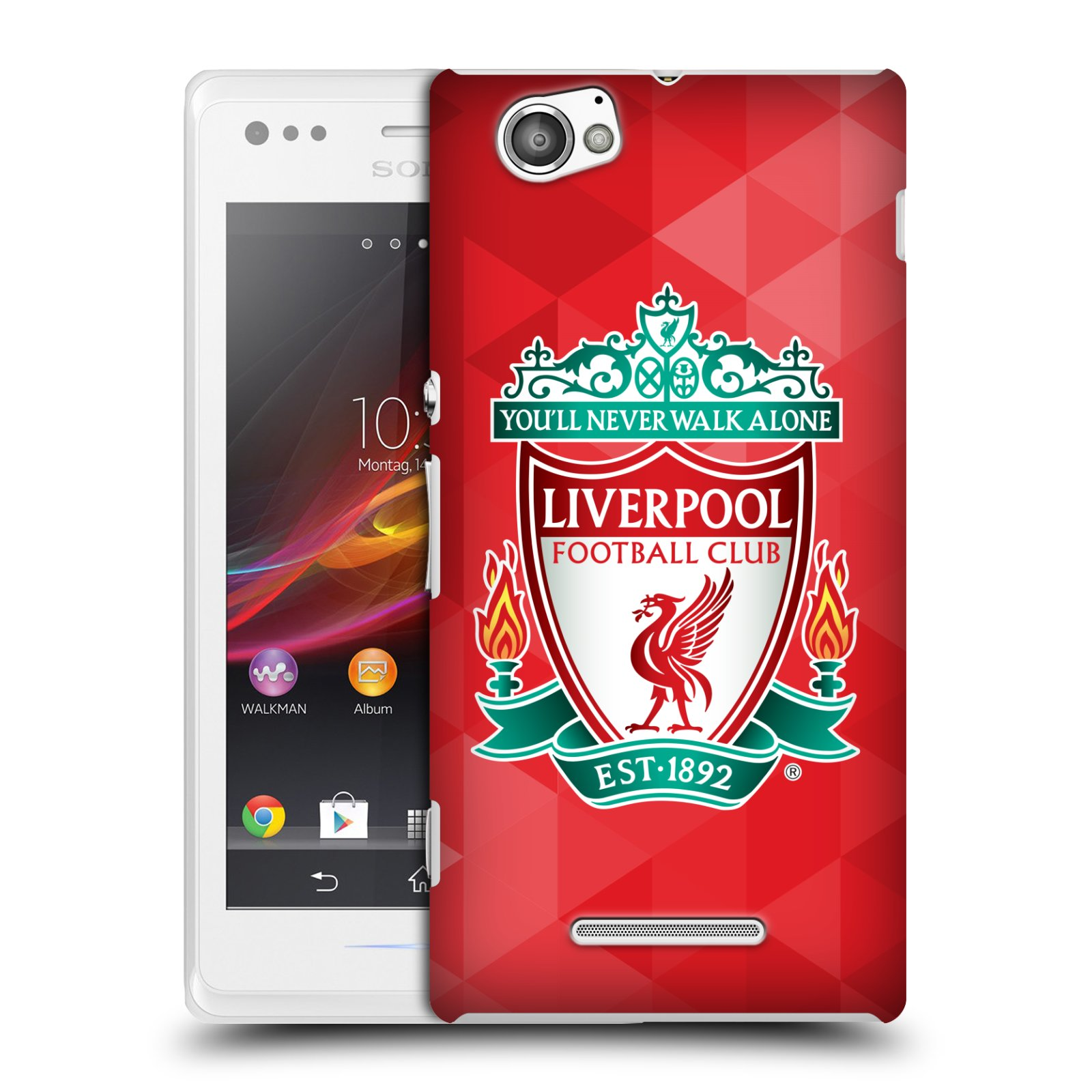 Plastové pouzdro na mobil Sony Xperia M C1905 HEAD CASE ZNAK LIVERPOOL FC OFFICIAL GEOMETRIC RED