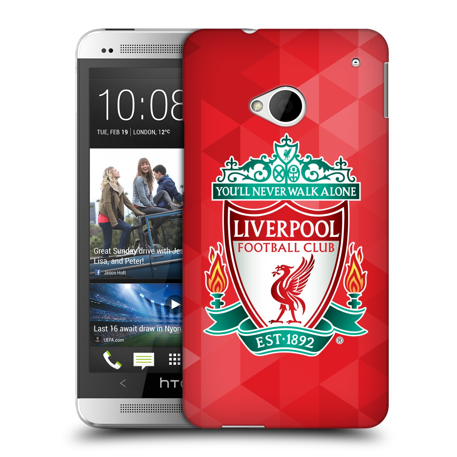 Plastové pouzdro na mobil HTC ONE M7 HEAD CASE ZNAK LIVERPOOL FC OFFICIAL GEOMETRIC RED (Kryt či obal na mobilní telefon Liverpool FC Official pro HTC ONE M7)