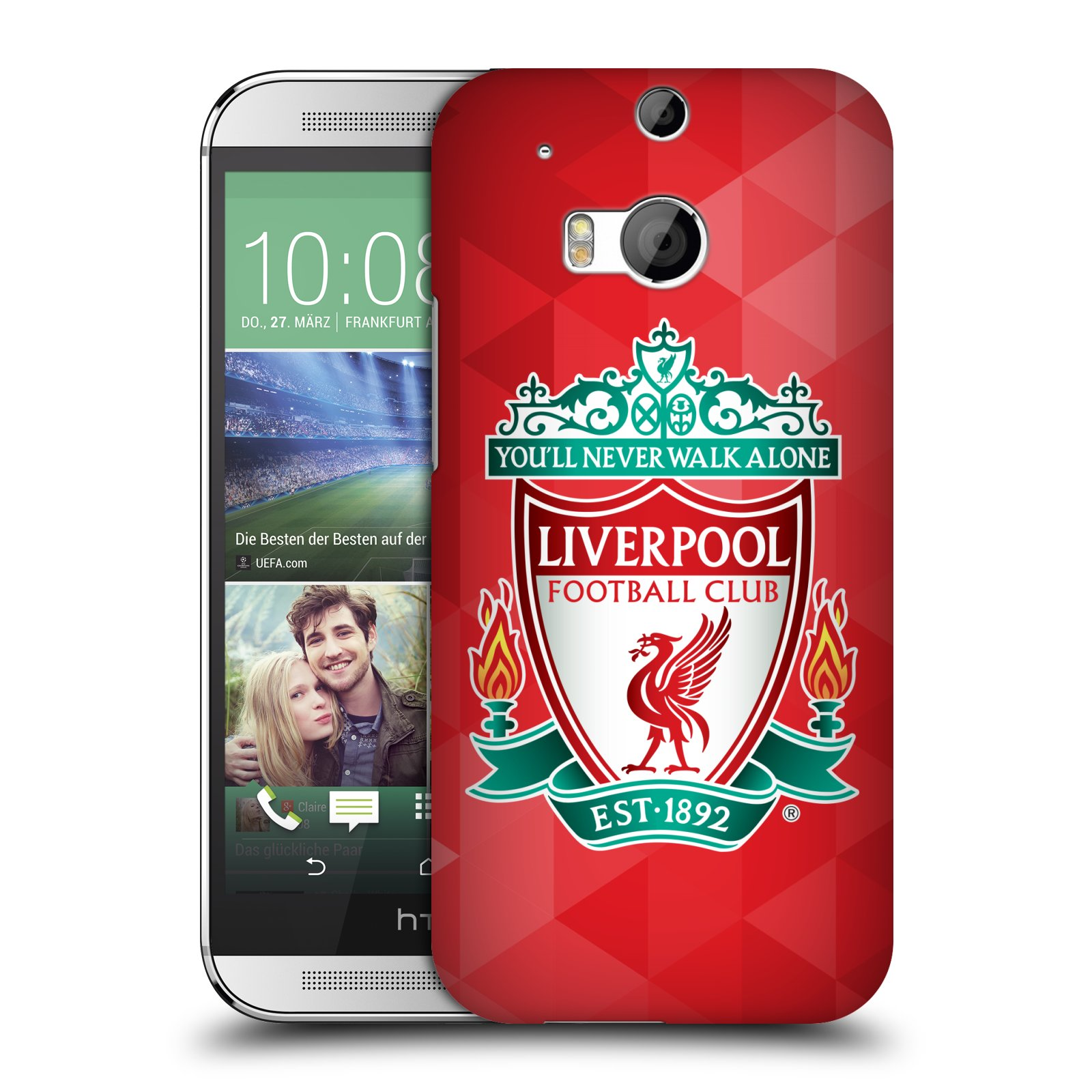 Plastové pouzdro na mobil HTC ONE M8 HEAD CASE ZNAK LIVERPOOL FC OFFICIAL GEOMETRIC RED (Kryt či obal na mobilní telefon Liverpool FC Official pro HTC ONE M8)