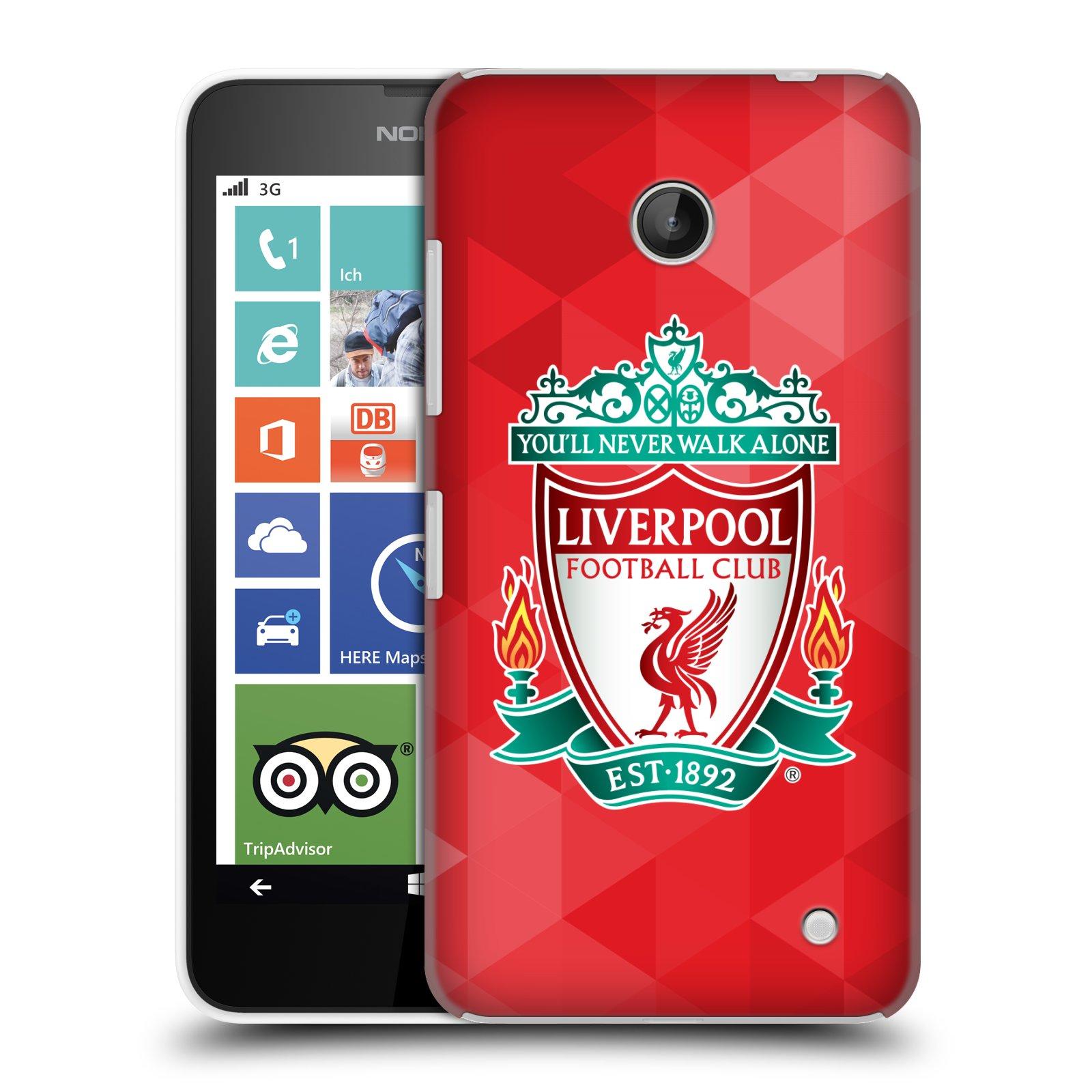 Plastové pouzdro na mobil Nokia Lumia 630 HEAD CASE ZNAK LIVERPOOL FC OFFICIAL GEOMETRIC RED (Kryt či obal na mobilní telefon Liverpool FC Official pro Nokia Lumia 630 a Nokia Lumia 630 Dual SIM)