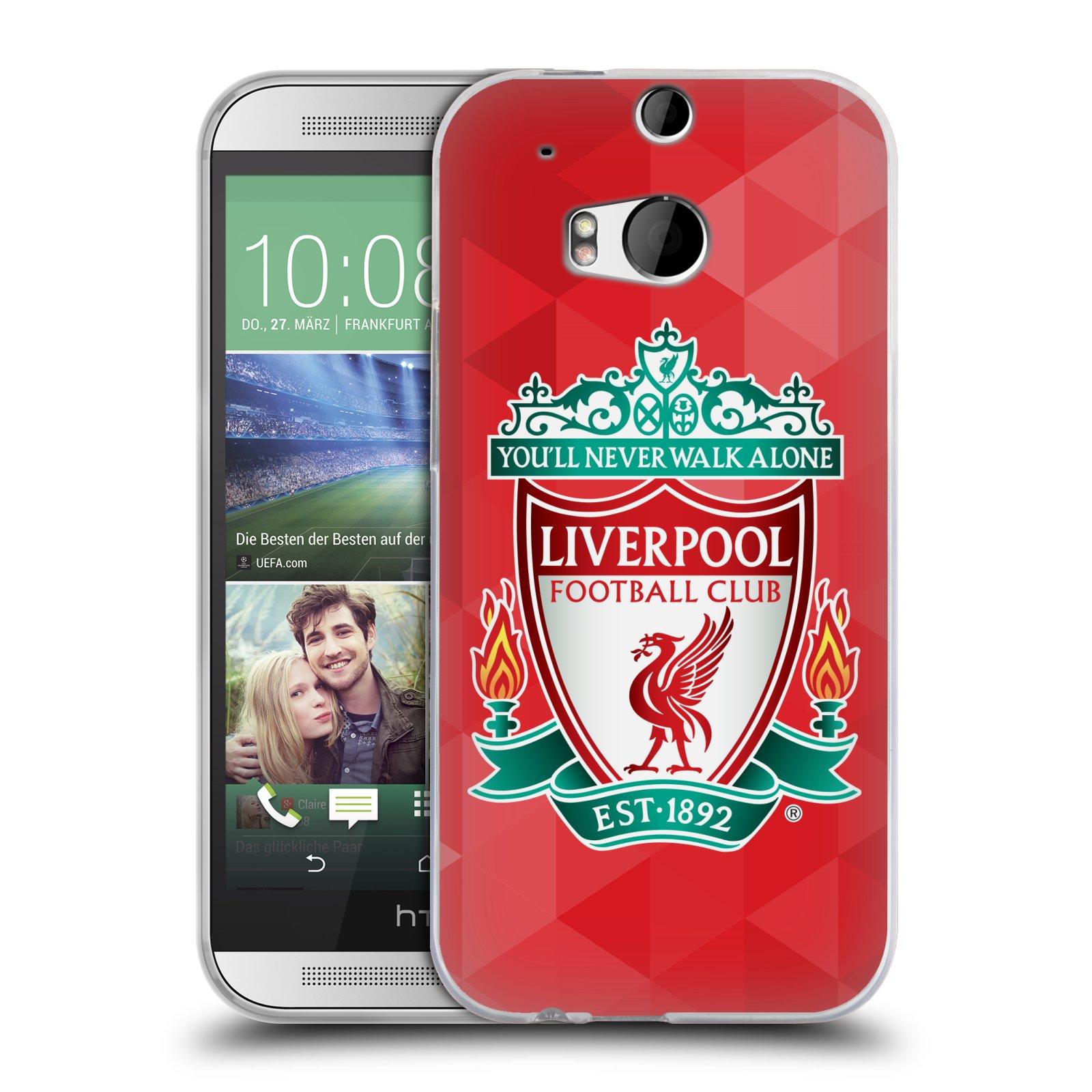 Silikonové pouzdro na mobil HTC ONE M8 HEAD CASE ZNAK LIVERPOOL FC OFFICIAL GEOMETRIC RED (Silikonový kryt či obal na mobilní telefon Liverpool FC Official pro HTC ONE M8)