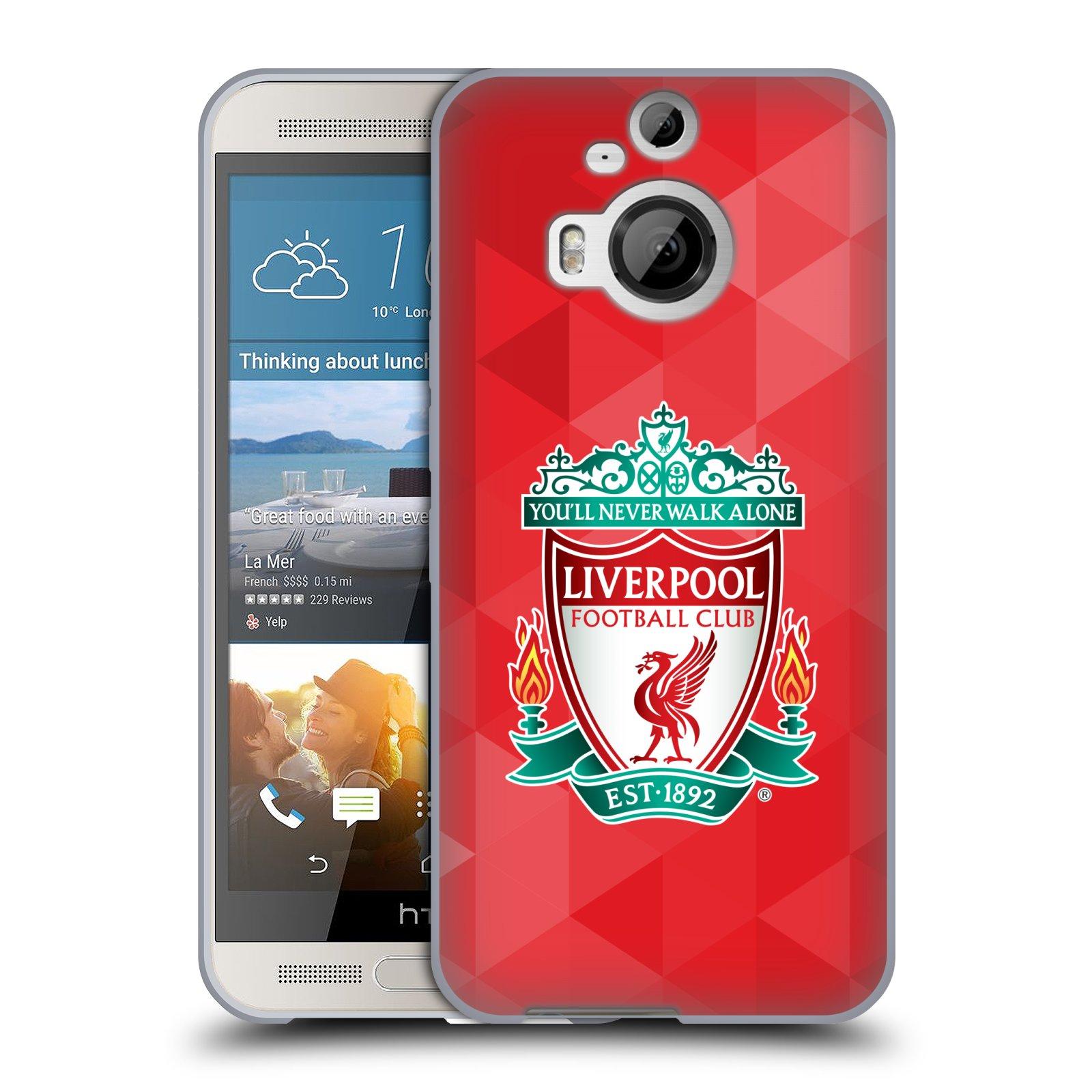 Silikonové pouzdro na mobil HTC One M9+ (Plus) HEAD CASE ZNAK LIVERPOOL FC OFFICIAL GEOMETRIC RED (Silikonový kryt či obal na mobilní telefon Liverpool FC Official pro HTC One M9+)