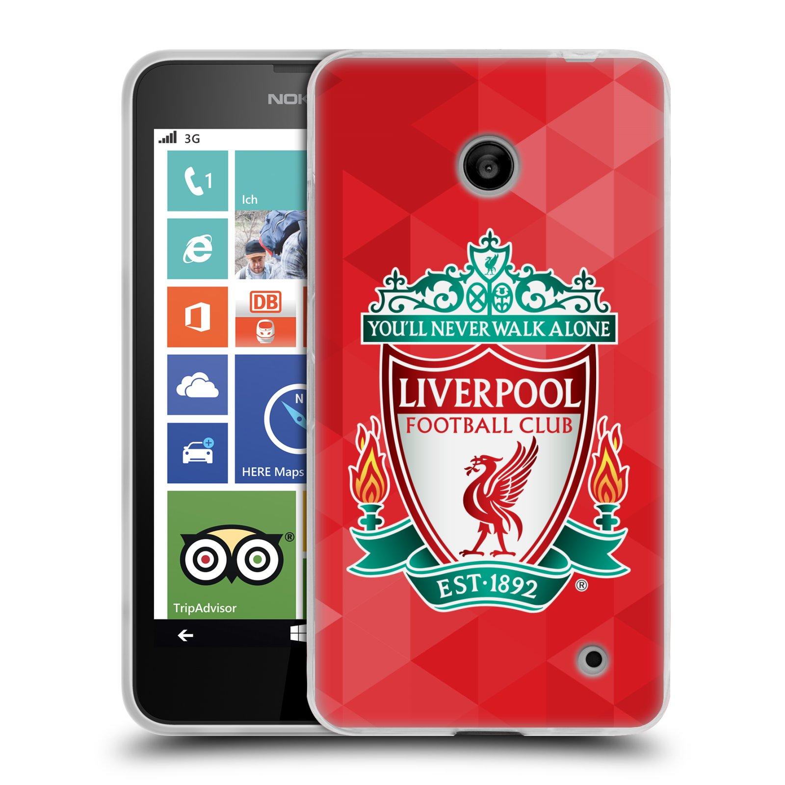 Silikonové pouzdro na mobil Nokia Lumia 630 HEAD CASE ZNAK LIVERPOOL FC OFFICIAL GEOMETRIC RED (Silikonový kryt či obal na mobilní telefon Liverpool FC Official pro Nokia Lumia 630 a Nokia Lumia 630 Dual SIM)