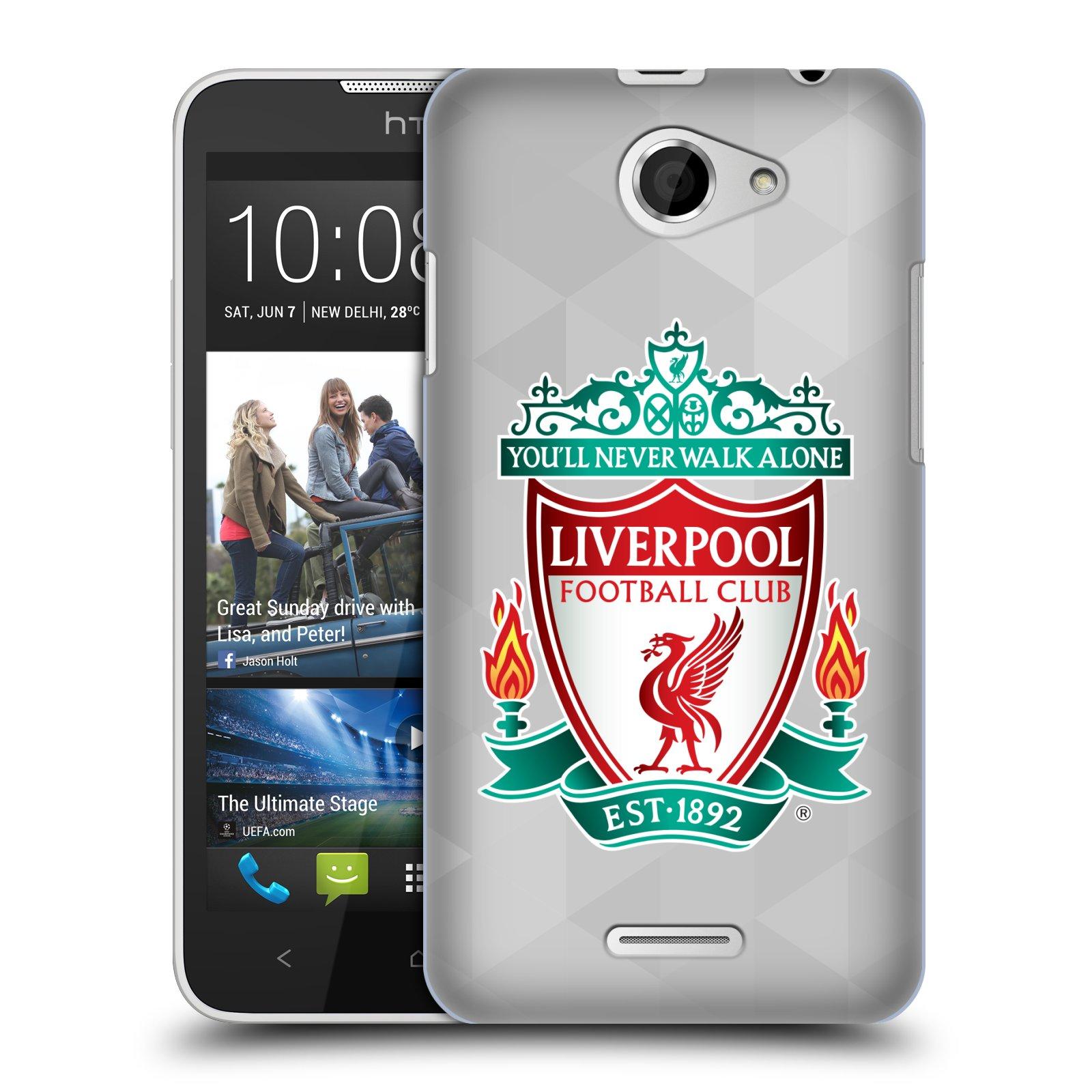 Plastové pouzdro na mobil HTC Desire 516 HEAD CASE ZNAK LIVERPOOL FC OFFICIAL GEOMETRIC WHITE (Kryt či obal na mobilní telefon Liverpool FC Official pro HTC Desire 516 Dual SIM)