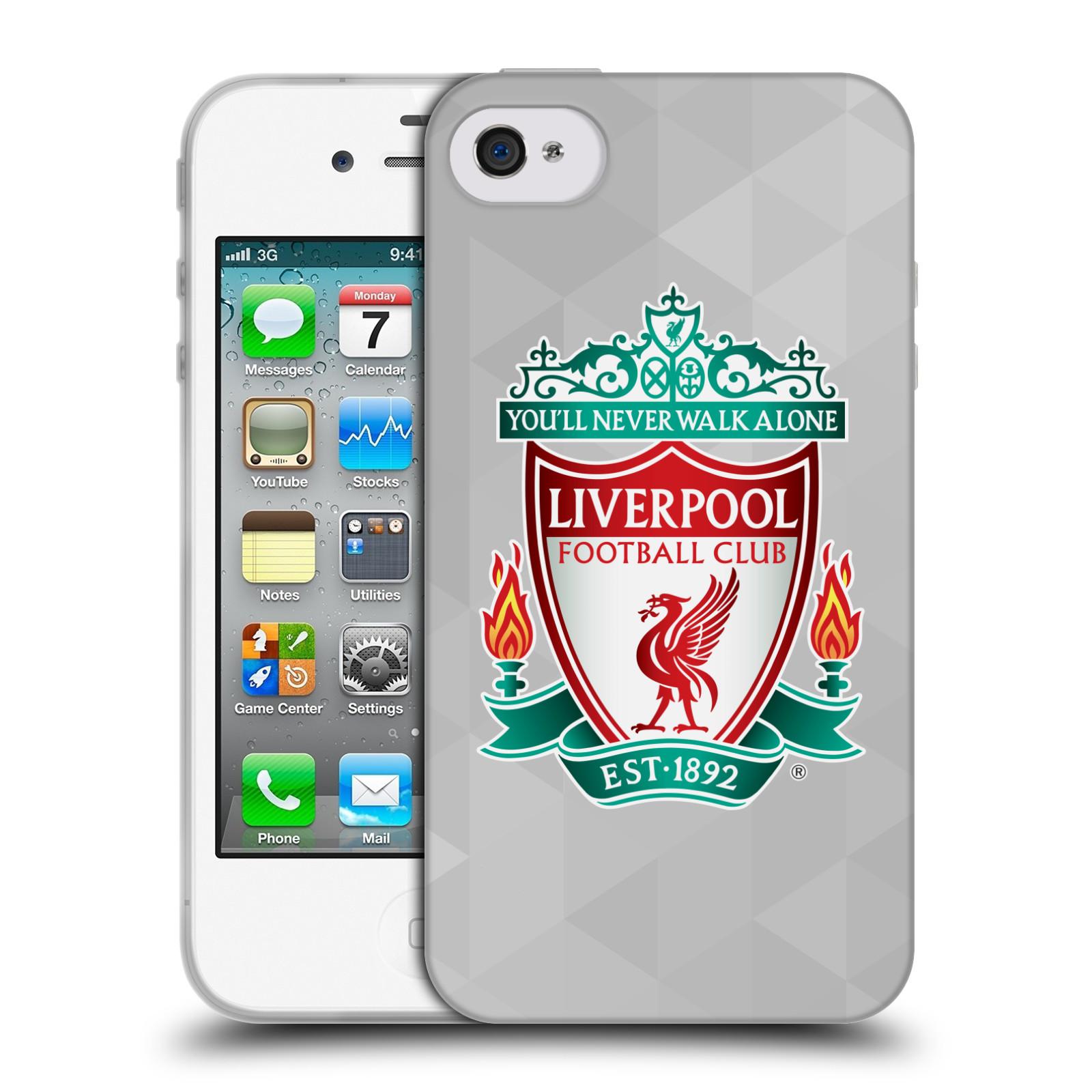 Silikonové pouzdro na mobil Apple iPhone 4 a 4S HEAD CASE ZNAK LIVERPOOL FC OFFICIAL GEOMETRIC WHITE (Silikonový kryt či obal na mobilní telefon Liverpool FC Official pro Apple iPhone 4 a 4S)
