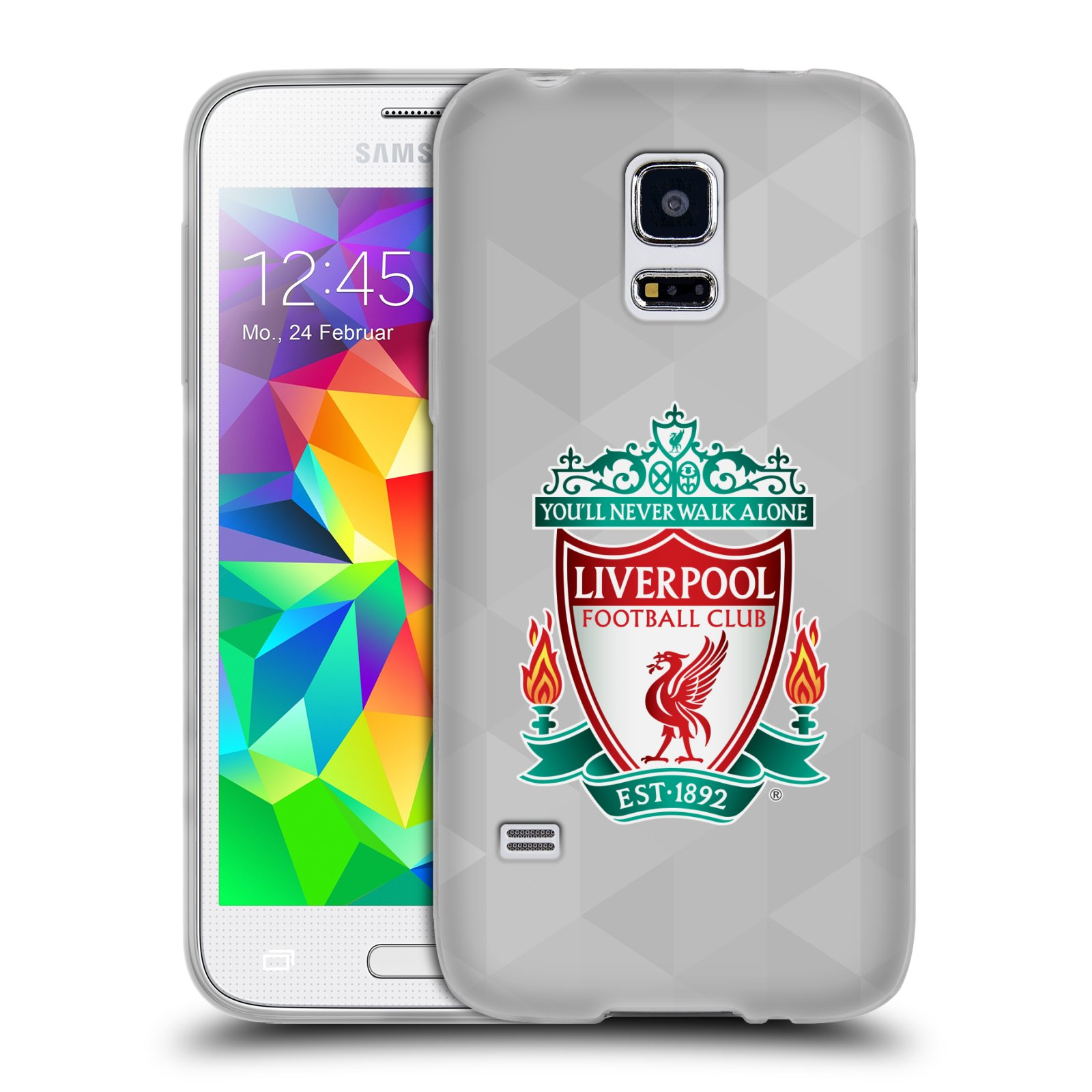 Silikonové pouzdro na mobil Samsung Galaxy S5 Mini HEAD CASE ZNAK LIVERPOOL FC OFFICIAL GEOMETRIC WHITE (Silikonový kryt či obal na mobilní telefon Liverpool FC Official pro Samsung Galaxy S5 Mini SM-G800F)