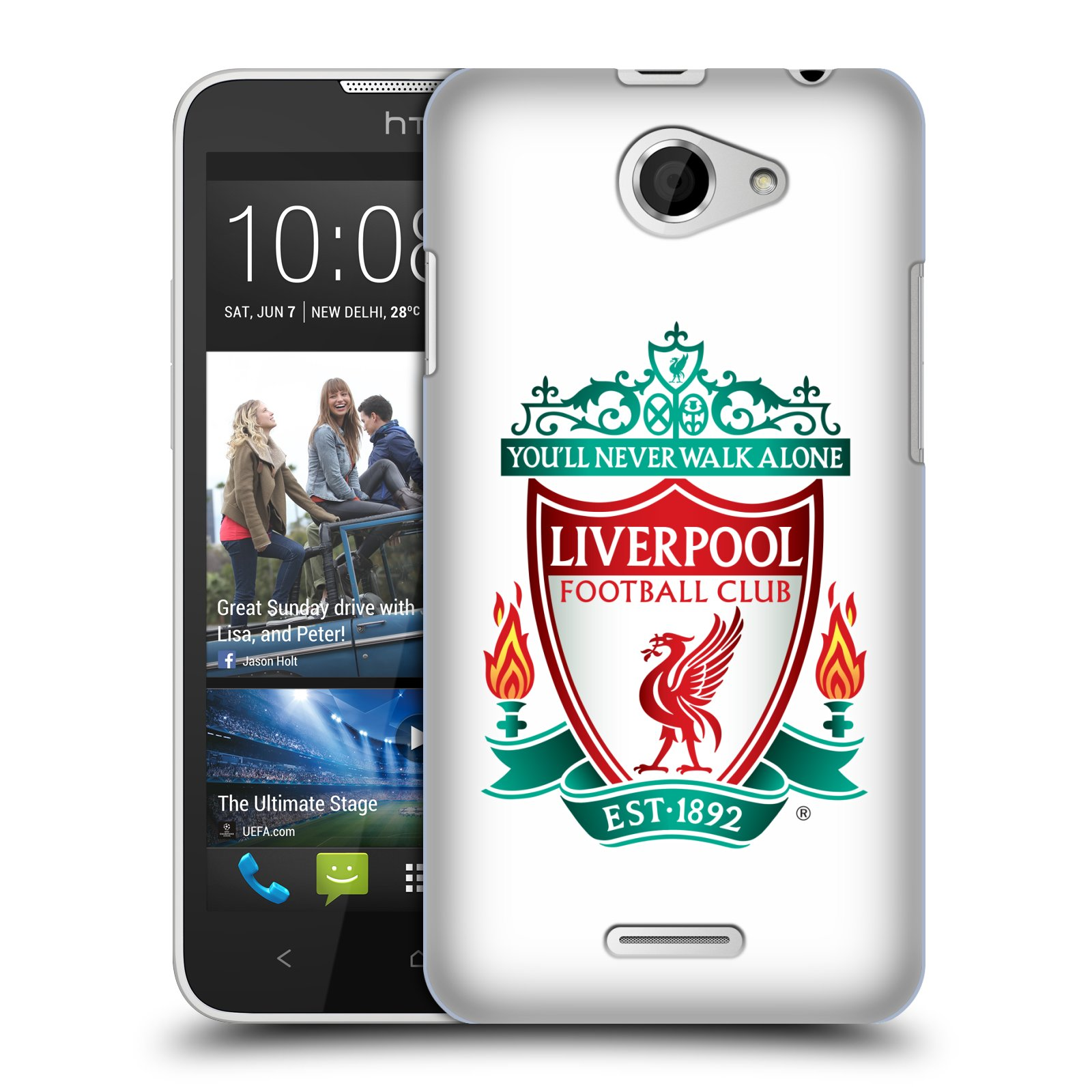 Plastové pouzdro na mobil HTC Desire 516 HEAD CASE ZNAK LIVERPOOL FC OFFICIAL WHITE (Kryt či obal na mobilní telefon Liverpool FC Official pro HTC Desire 516 Dual SIM)