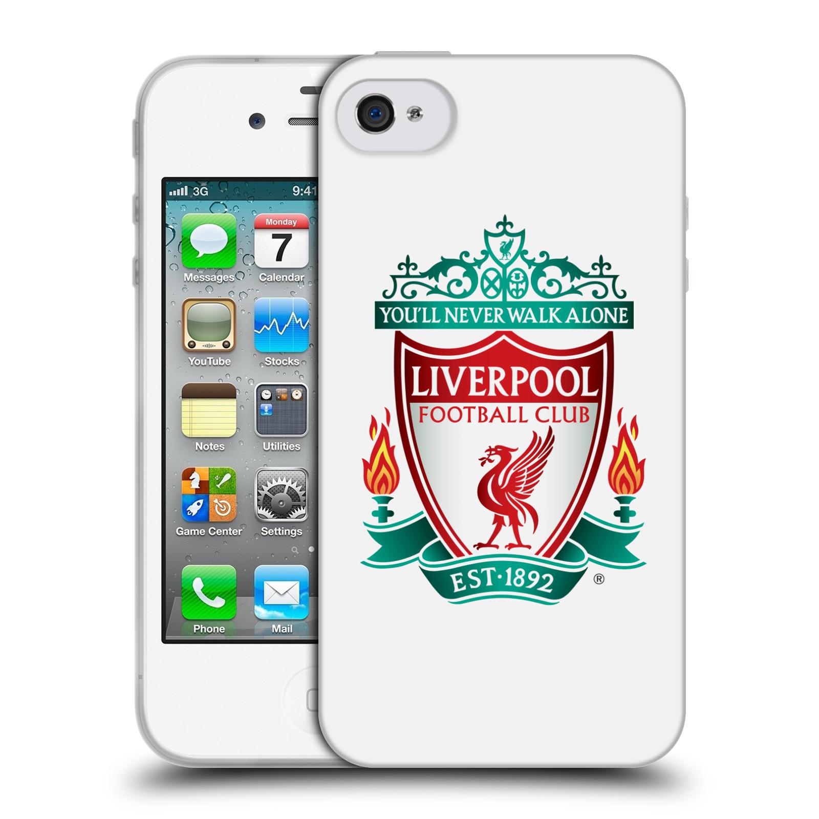 Silikonové pouzdro na mobil Apple iPhone 4 a 4S HEAD CASE ZNAK LIVERPOOL FC OFFICIAL WHITE (Silikonový kryt či obal na mobilní telefon Liverpool FC Official pro Apple iPhone 4 a 4S)