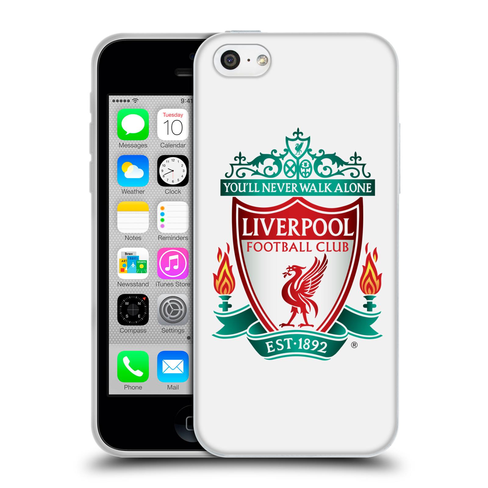 Silikonové pouzdro na mobil Apple iPhone 5C HEAD CASE ZNAK LIVERPOOL FC OFFICIAL WHITE (Silikonový kryt či obal na mobilní telefon Liverpool FC Official pro Apple iPhone 5C)