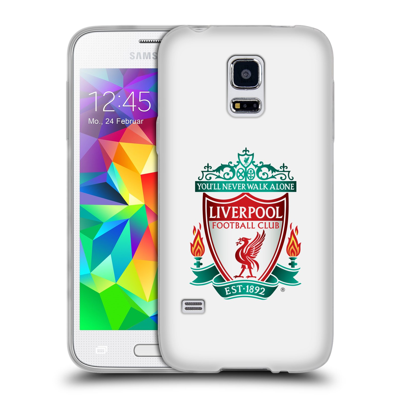 Silikonové pouzdro na mobil Samsung Galaxy S5 Mini HEAD CASE ZNAK LIVERPOOL FC OFFICIAL WHITE (Silikonový kryt či obal na mobilní telefon Liverpool FC Official pro Samsung Galaxy S5 Mini SM-G800F)