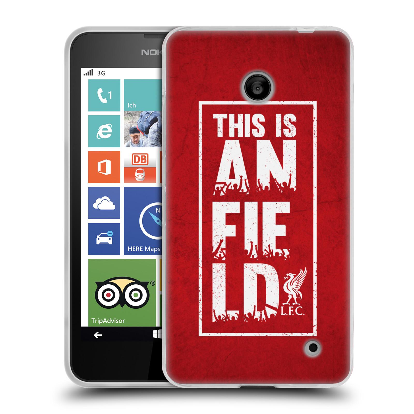 Silikonové pouzdro na mobil Nokia Lumia 630 HEAD CASE Liverpool FC This Is Anfield Red (Silikonový kryt či obal na mobilní telefon Liverpool FC Official pro Nokia Lumia 630 a Nokia Lumia 630 Dual SIM)