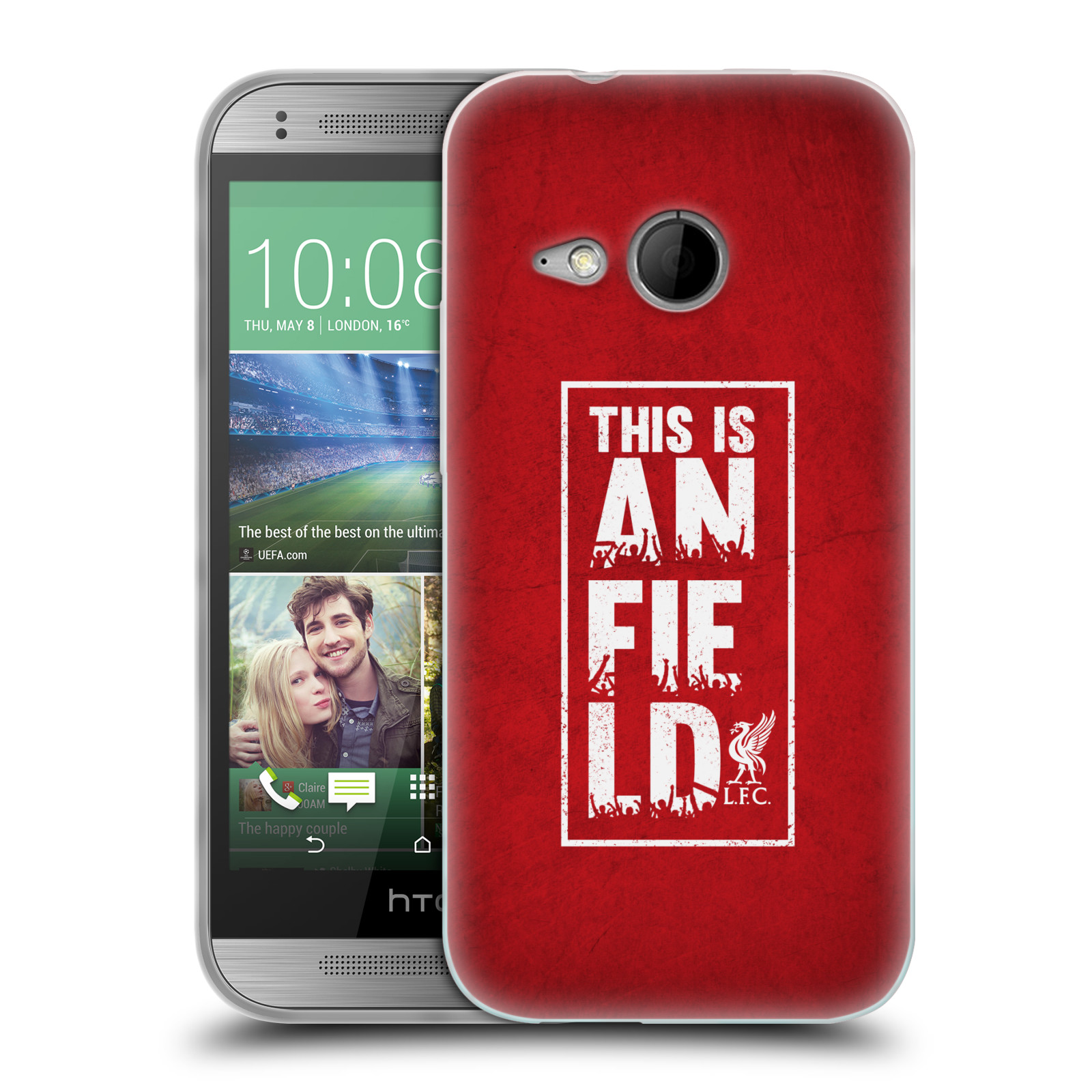 Silikonové pouzdro na mobil HTC ONE Mini 2 HEAD CASE Liverpool FC This Is Anfield Red (Silikonový kryt či obal na mobilní telefon Liverpool FC Official pro HTC ONE Mini 2)