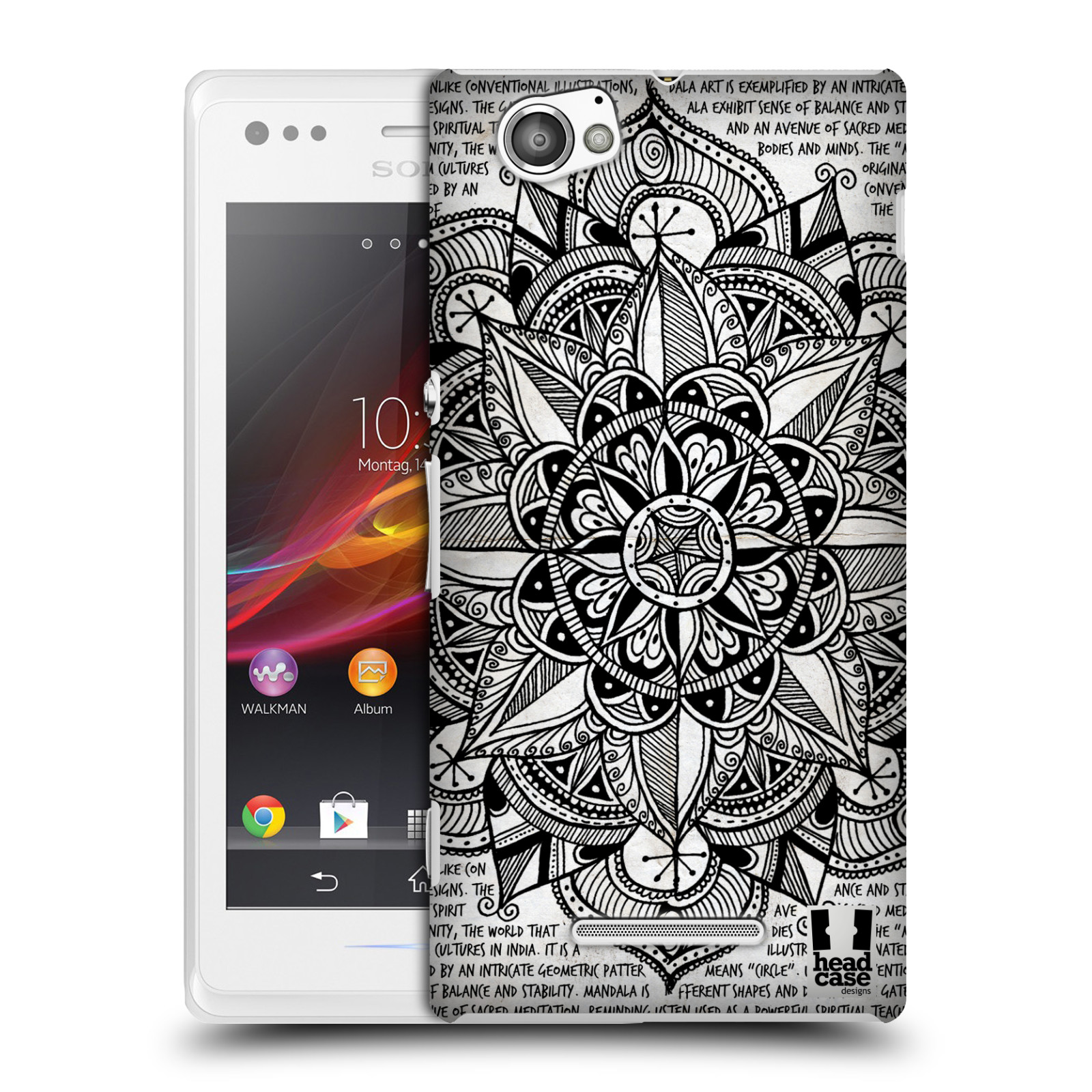 Plastové pouzdro na mobil Sony Xperia M C1905 HEAD CASE Mandala Doodle Paper (Kryt či obal na mobilní telefon Sony Xperia M )