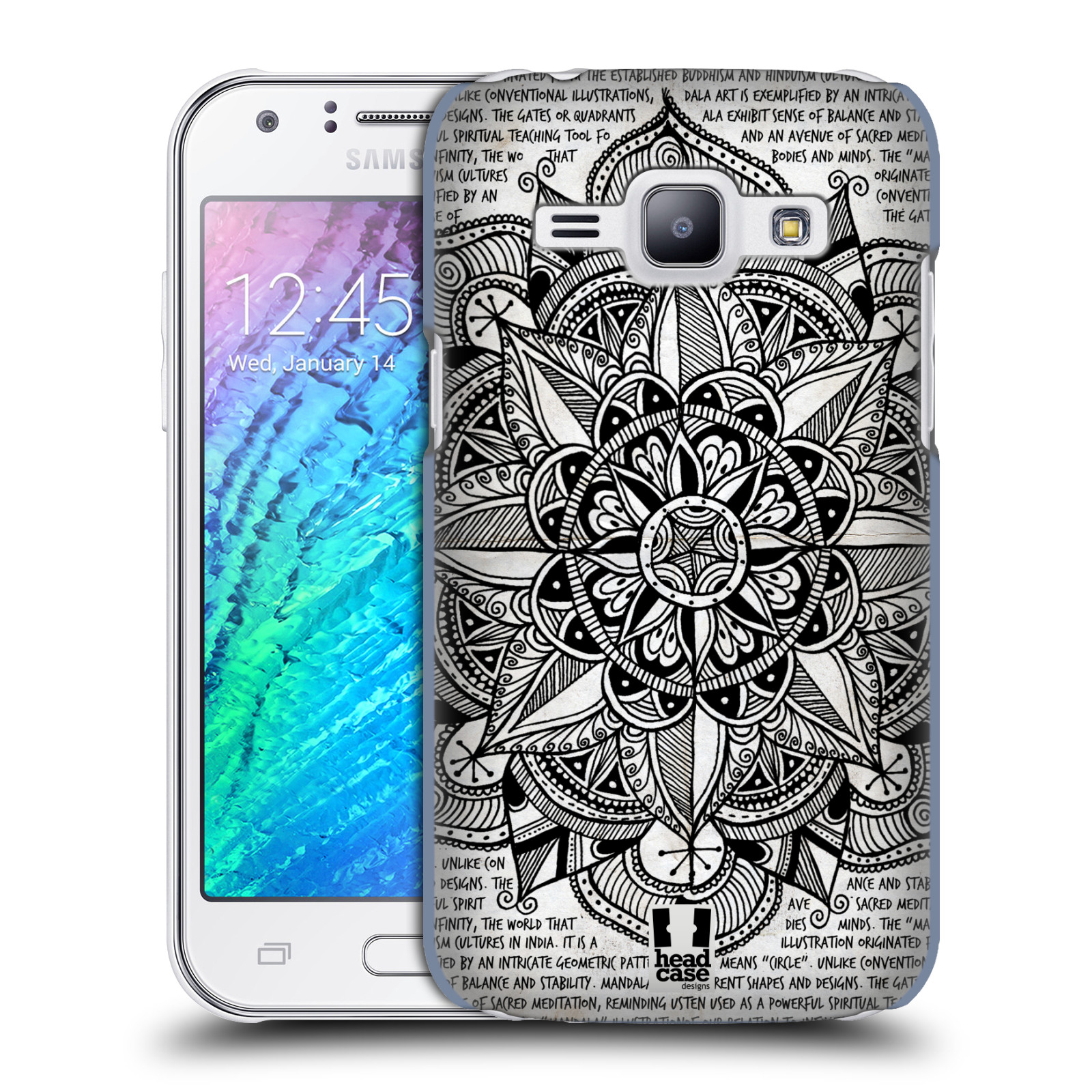 Plastové pouzdro na mobil Samsung Galaxy J1 HEAD CASE Mandala Doodle Paper (Kryt či obal na mobilní telefon Samsung Galaxy J1 a J1 Duos )