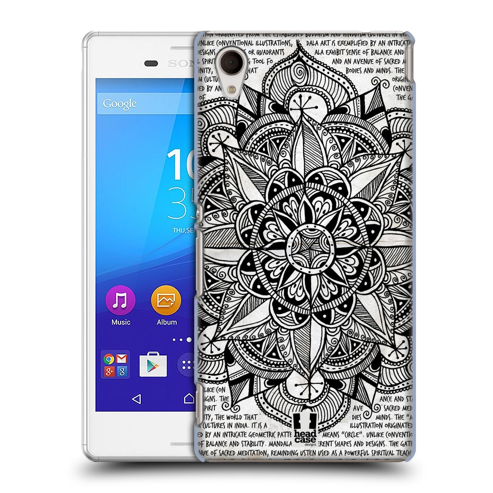 Plastové pouzdro na mobil Sony Xperia M4 Aqua E2303 HEAD CASE Mandala Doodle Paper (Kryt či obal na mobilní telefon Sony Xperia M4 Aqua a M4 Aqua Dual SIM)