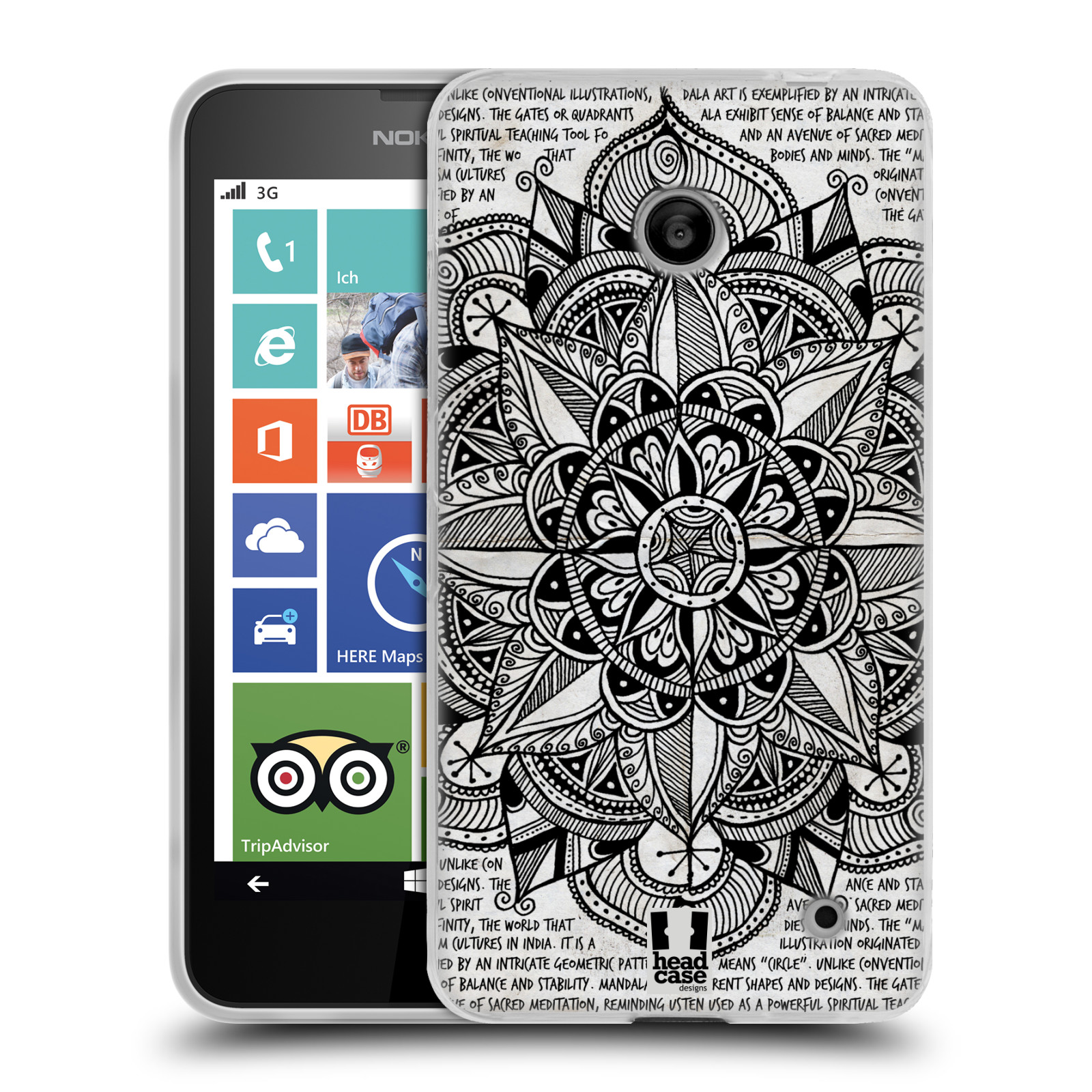 Silikonové pouzdro na mobil Nokia Lumia 630 HEAD CASE Mandala Doodle Paper (Silikonový kryt či obal na mobilní telefon Nokia Lumia 630 a Nokia Lumia 630 Dual SIM)