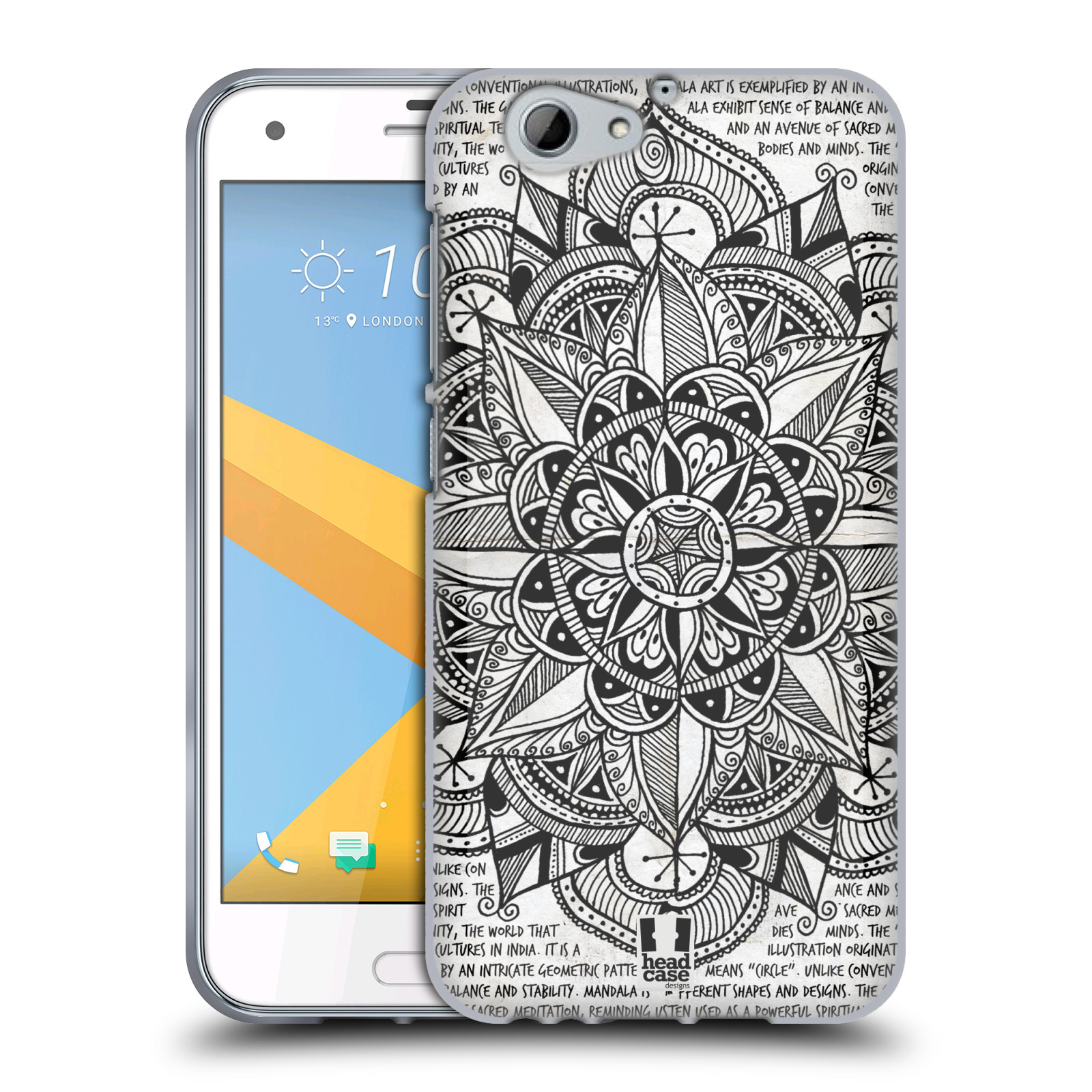 Silikonové pouzdro na mobil HTC One A9s Head Case - Mandala Doodle Paper