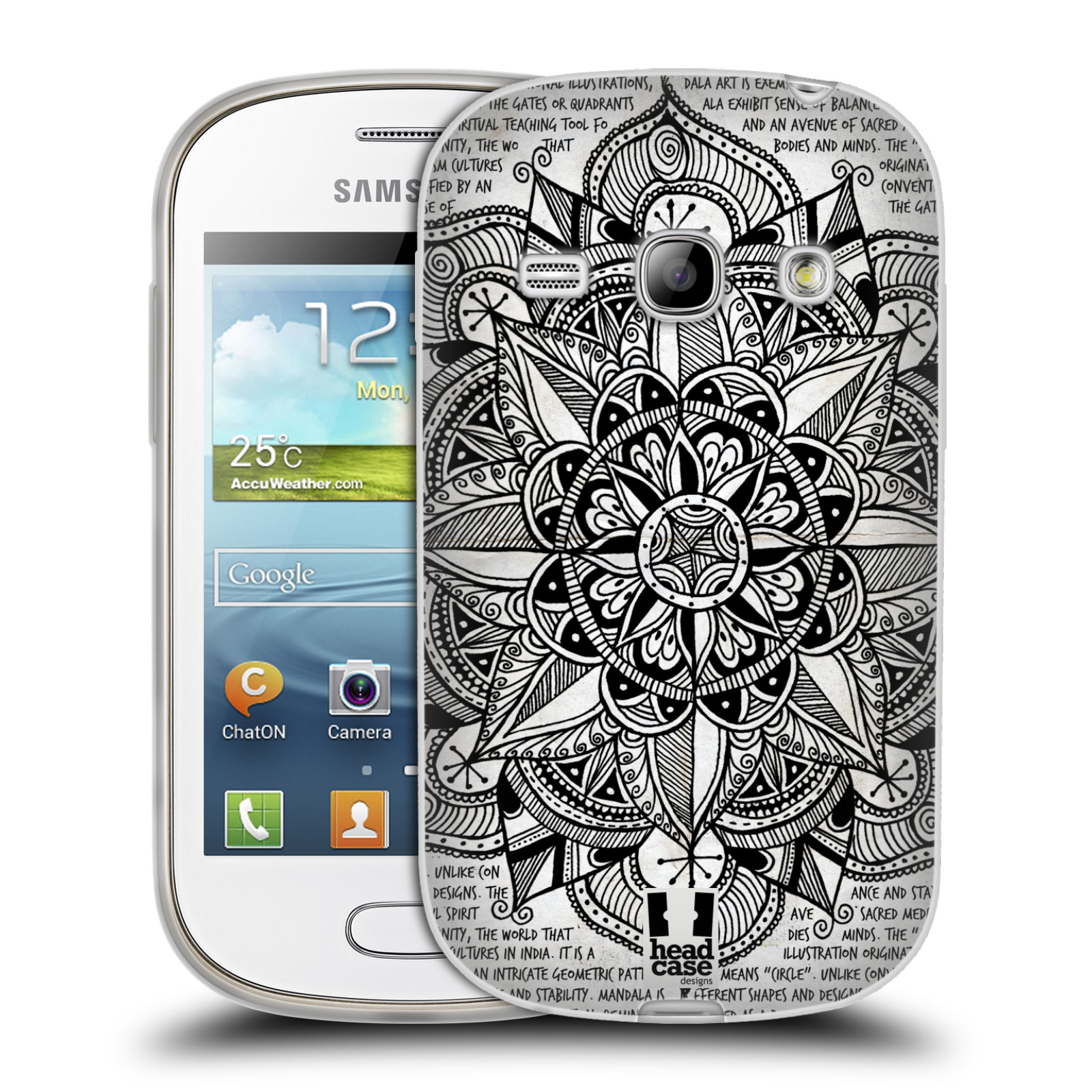 Silikonové pouzdro na mobil Samsung Galaxy Fame HEAD CASE Mandala Doodle Paper (Silikonový kryt či obal na mobilní telefon Samsung Galaxy Fame GT-S6810)