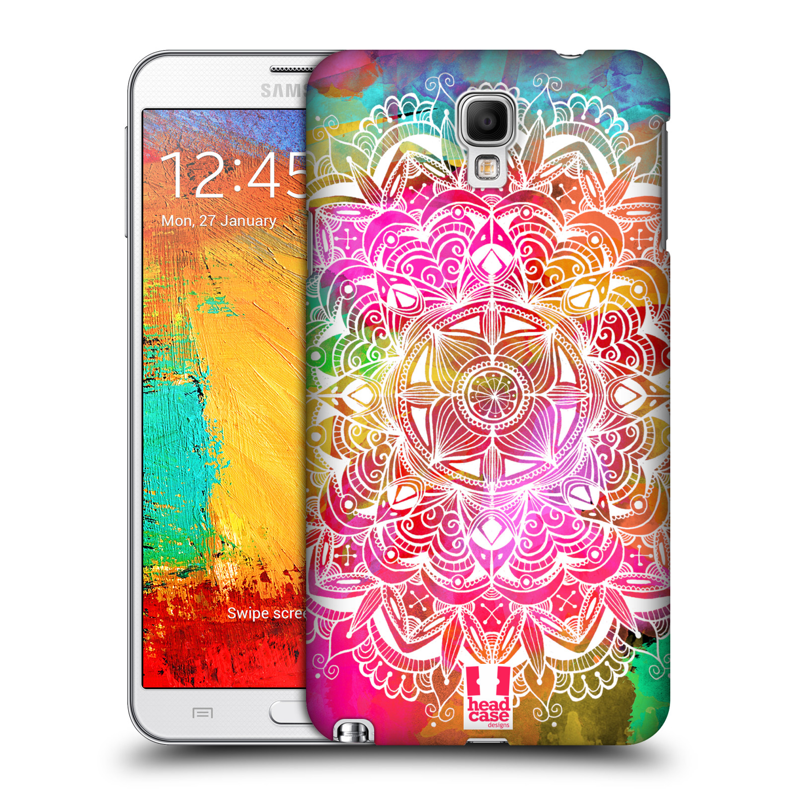 Plastové pouzdro na mobil Samsung Galaxy Note 3 Neo HEAD CASE Mandala Doodle Watercolour (Kryt či obal na mobilní telefon Samsung Galaxy Note 3 Neo SM-N7505)