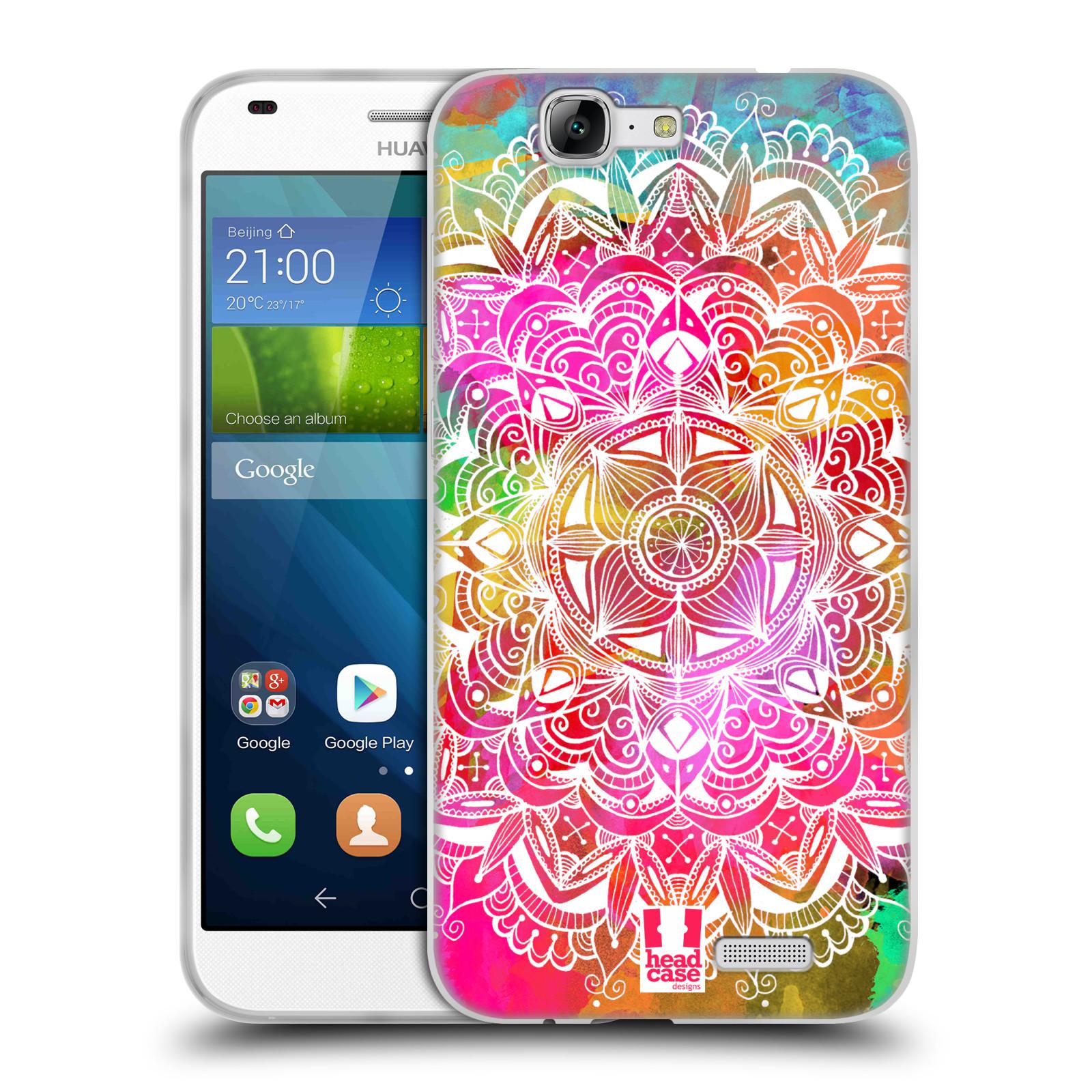 Silikonové pouzdro na mobil Huawei Ascend G7 HEAD CASE Mandala Doodle Watercolour (Silikonový kryt či obal na mobilní telefon Huawei Ascend G7)