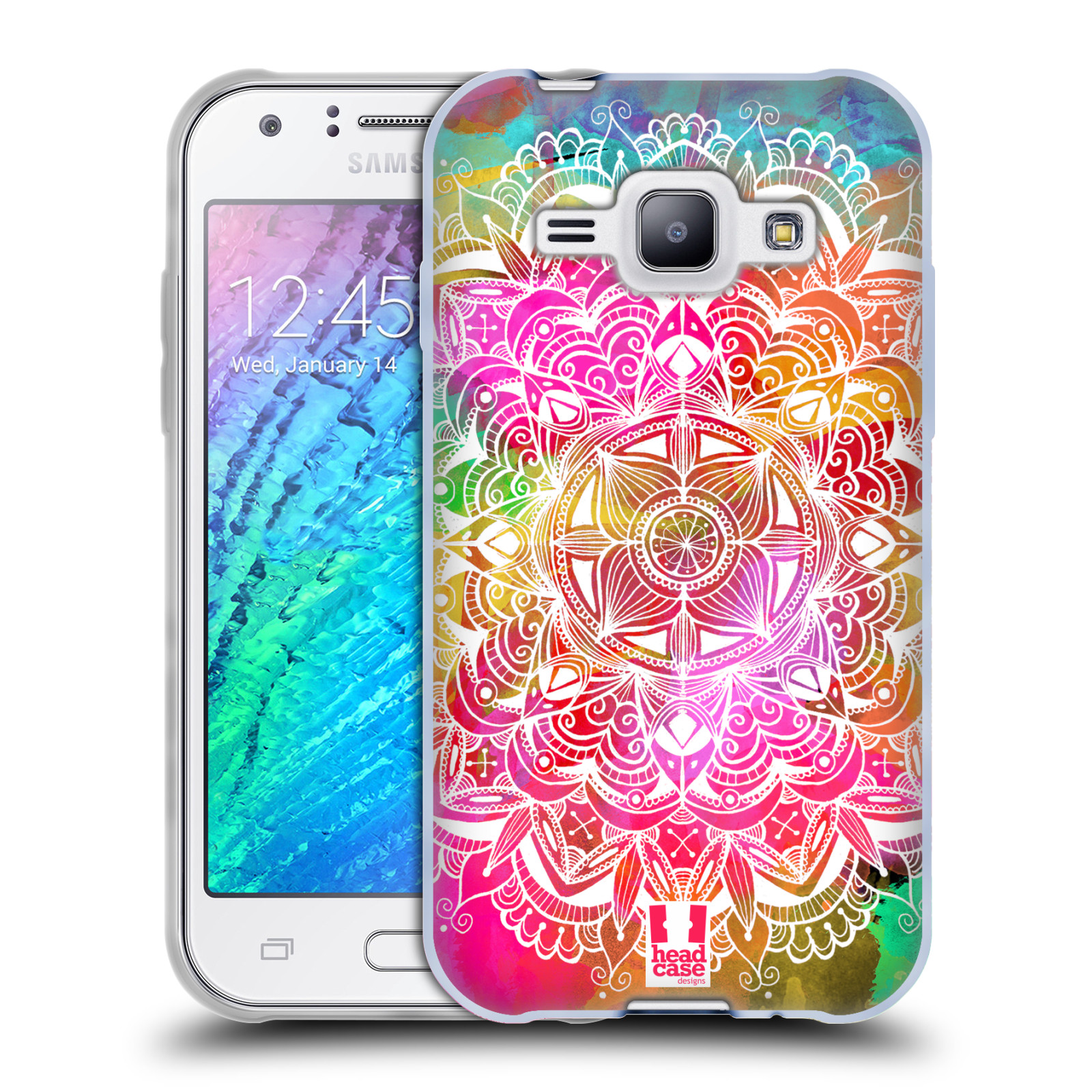 Silikonové pouzdro na mobil Samsung Galaxy J1 HEAD CASE Mandala Doodle Watercolour (Silikonový kryt či obal na mobilní telefon Samsung Galaxy J1 a J1 Duos)