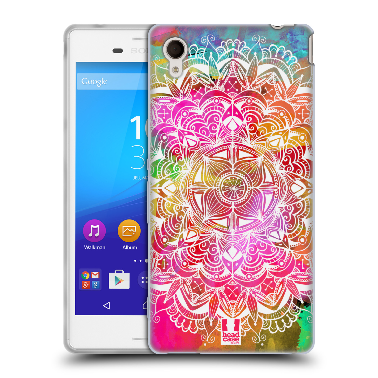 Silikonové pouzdro na mobil Sony Xperia M4 Aqua E2303 HEAD CASE Mandala Doodle Watercolour (Silikonový kryt či obal na mobilní telefon Sony Xperia M4 Aqua a M4 Aqua Dual SIM)