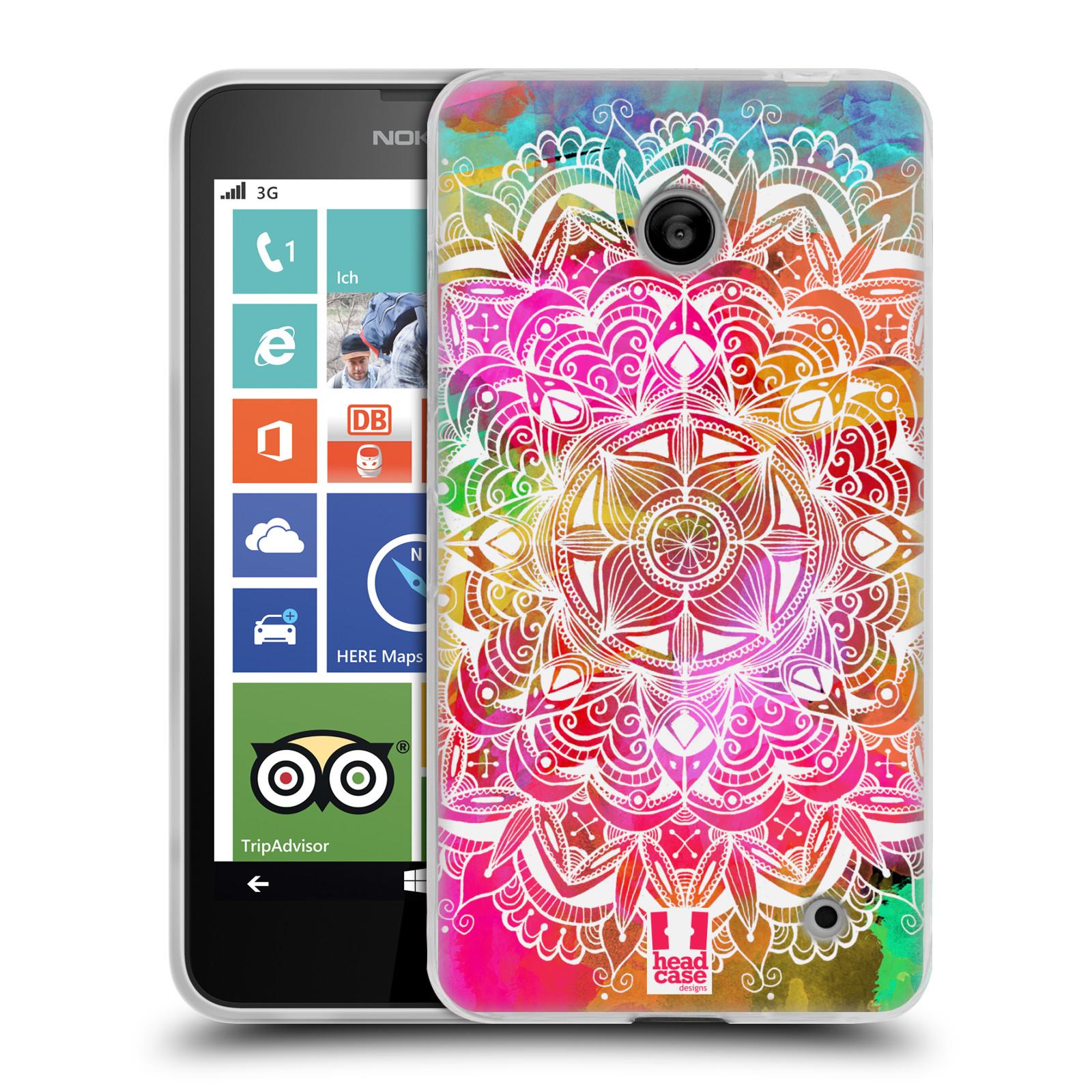 Silikonové pouzdro na mobil Nokia Lumia 630 HEAD CASE Mandala Doodle Watercolour (Silikonový kryt či obal na mobilní telefon Nokia Lumia 630 a Nokia Lumia 630 Dual SIM)