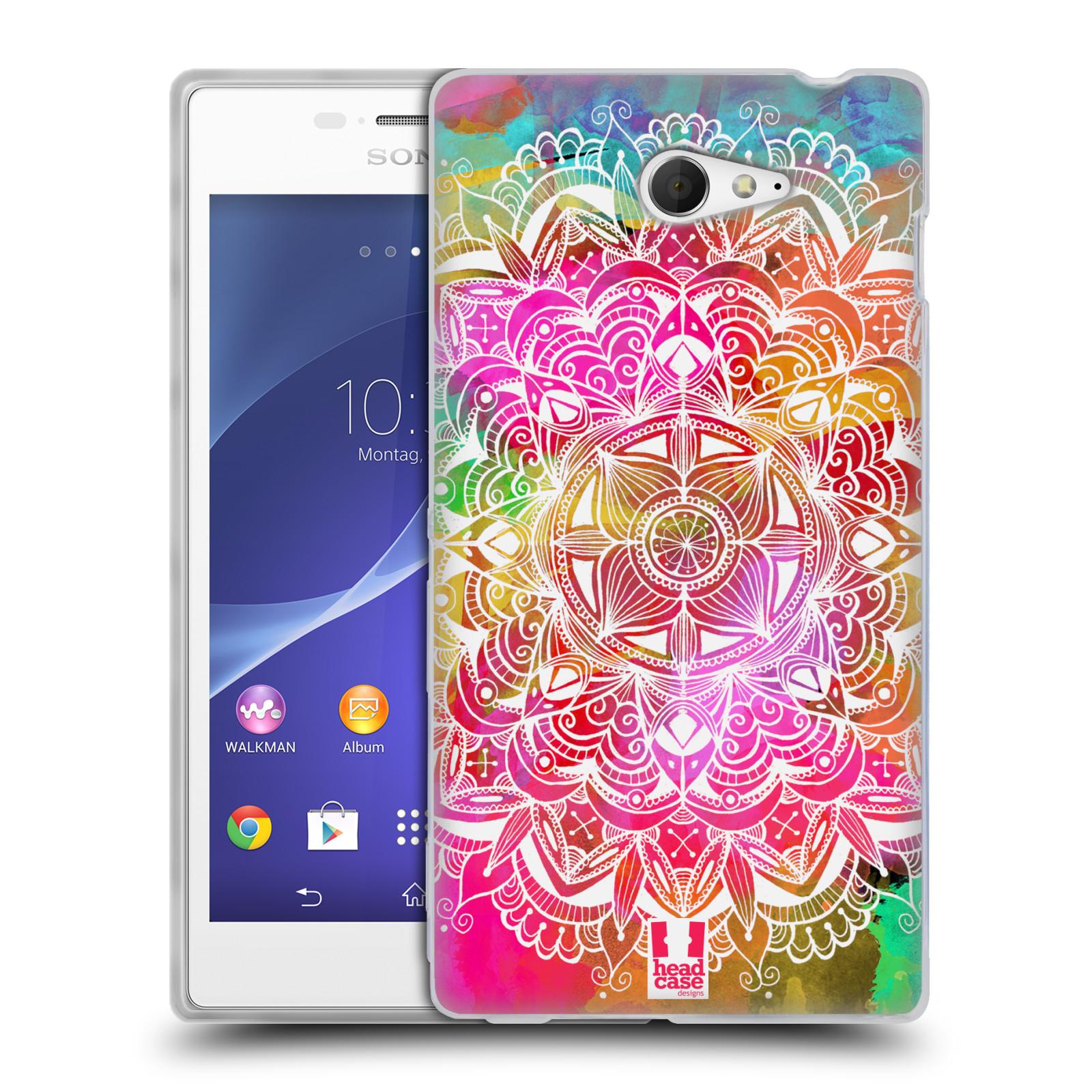 Silikonové pouzdro na mobil Sony Xperia M2 D2303 HEAD CASE Mandala Doodle Watercolour (Silikonový Kryt či obal na mobilní telefon Sony Xperia M2)