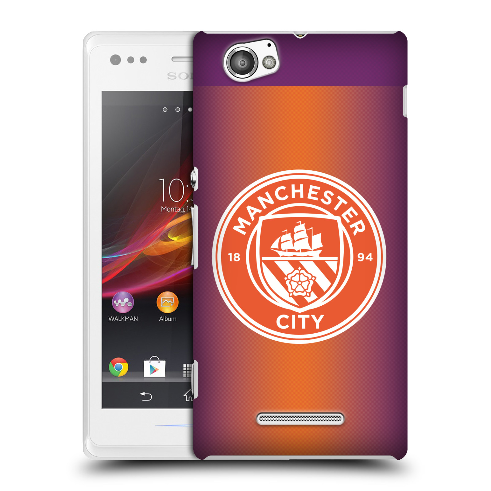 Plastové pouzdro na mobil Sony Xperia M C1905 HEAD CASE Manchester City FC - Oranžové nové logo