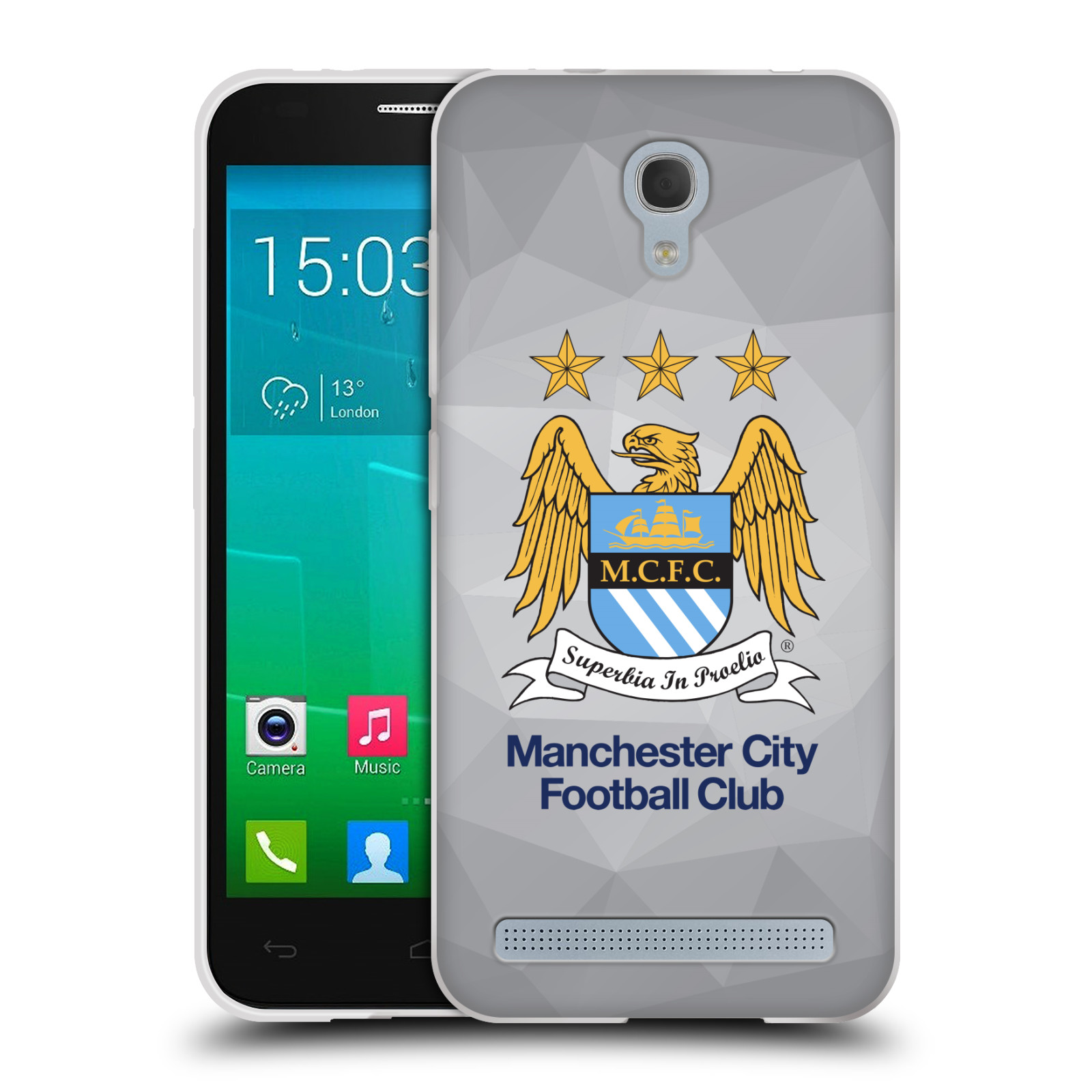 Silikonové pouzdro na mobil Alcatel One Touch Idol 2 Mini S 6036Y HEAD CASE Manchester City FC - Football Club (Silikonový kryt či obal na mobilní telefon s licencovaným motivem Manchester City FC pro Alcatel Idol 2 Mini S OT-6036Y)