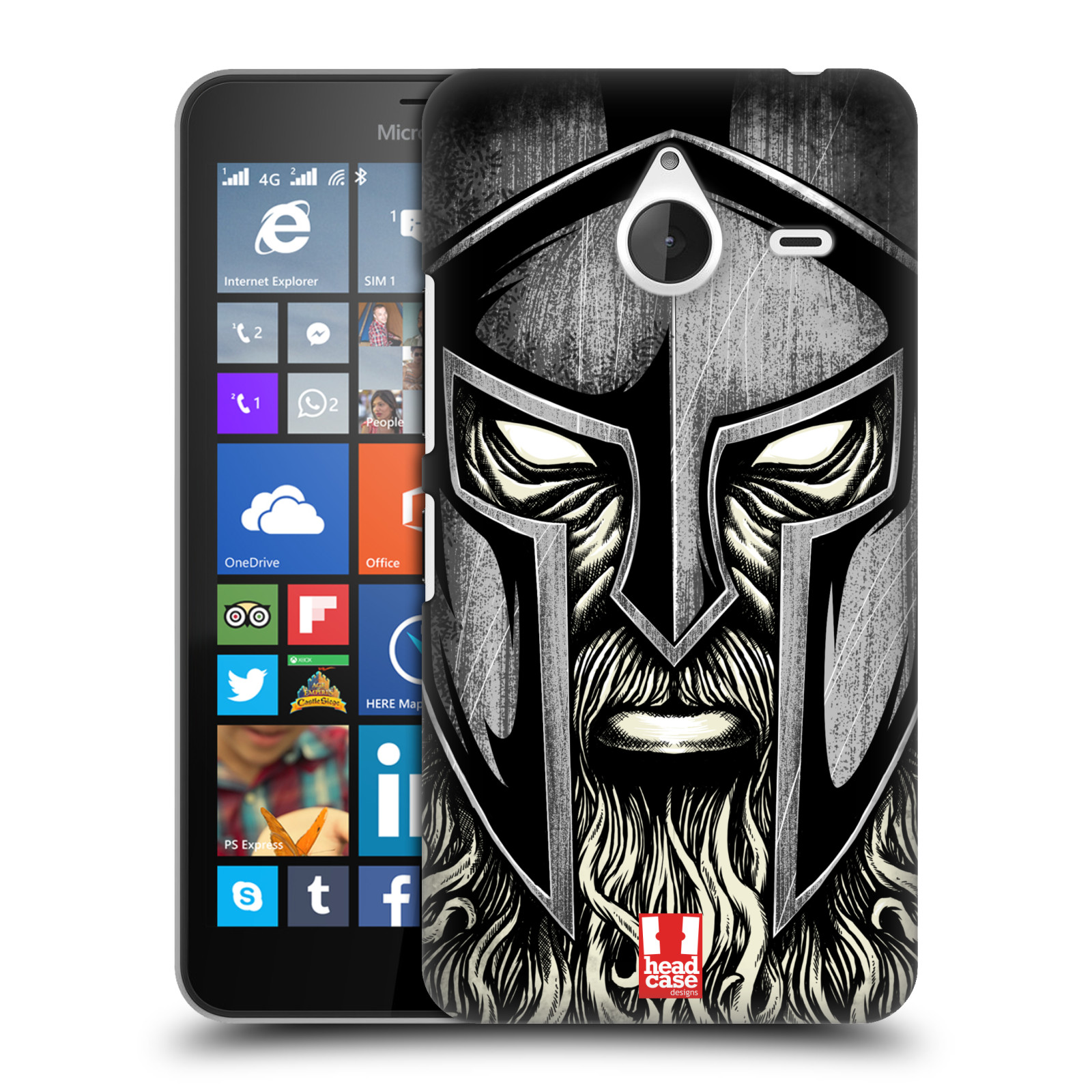 Plastové pouzdro na mobil Microsoft Lumia 640 XL - Head Case - Vousáč válečník (Plastový kryt či obal na mobilní telefon s motivem bojovníka pro Microsoft Lumia 640 XL)