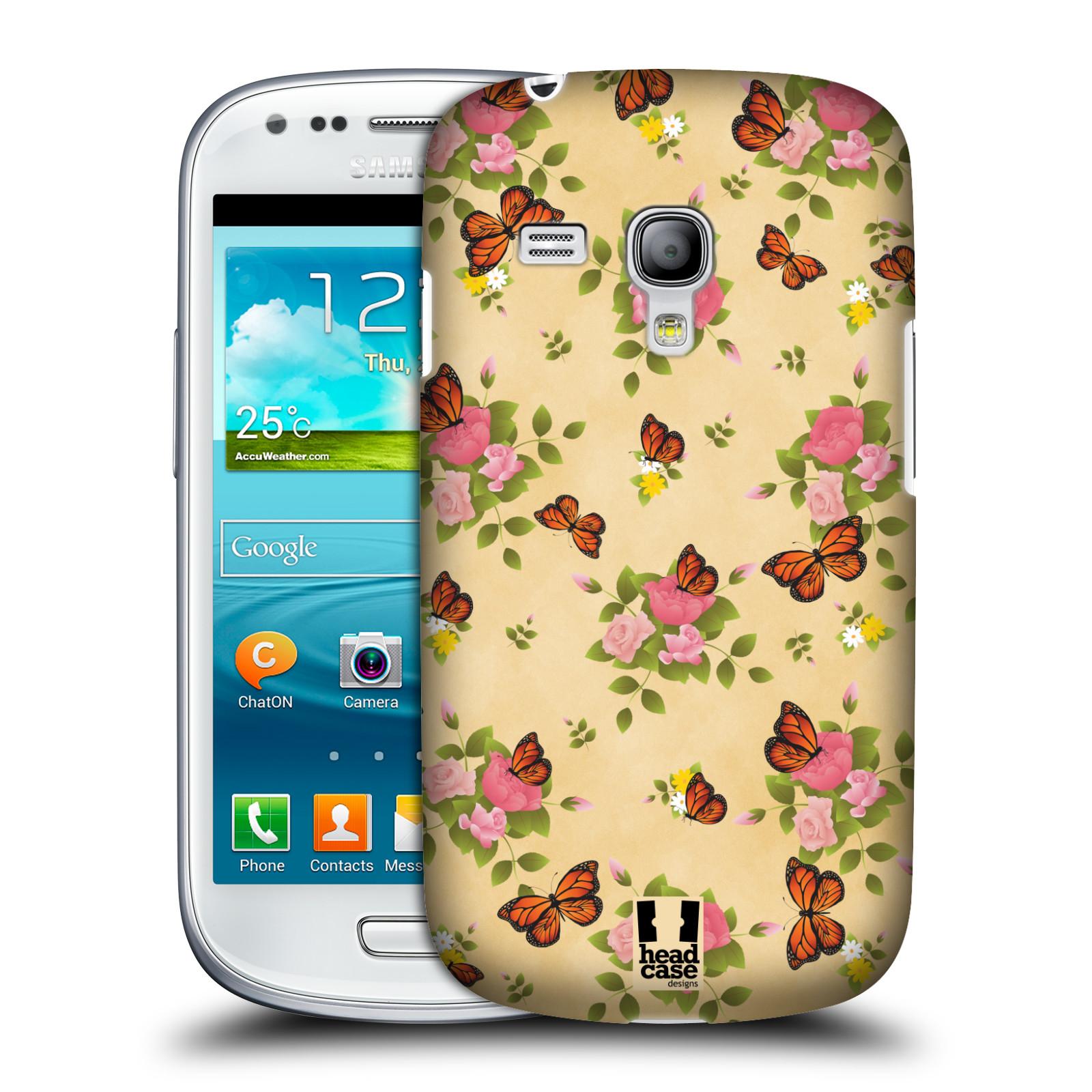 Silikonové pouzdro na mobil Samsung Galaxy S III Mini VE - Head Case - Motýlci a růžičky (Plastový kryt či obal na mobilní telefon s motivem motýlů monarchů pro Samsung Galaxy S3 Mini VE GT-i8200)