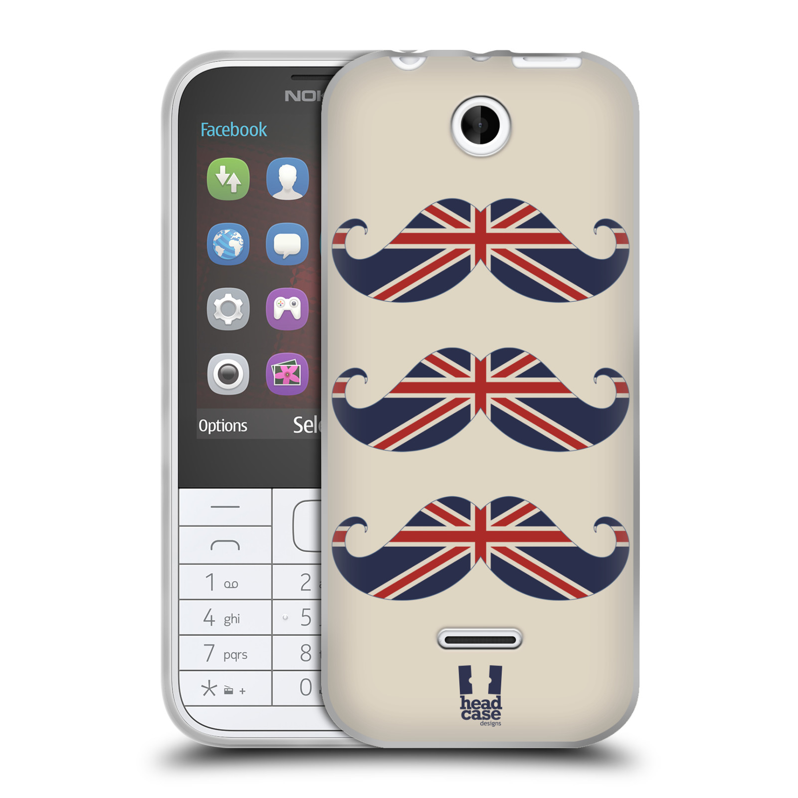 Silikonové pouzdro na mobil Nokia 225 HEAD CASE BRITSKÉ KNÍRY (Silikonový kryt či obal na mobilní telefon Nokia 225)