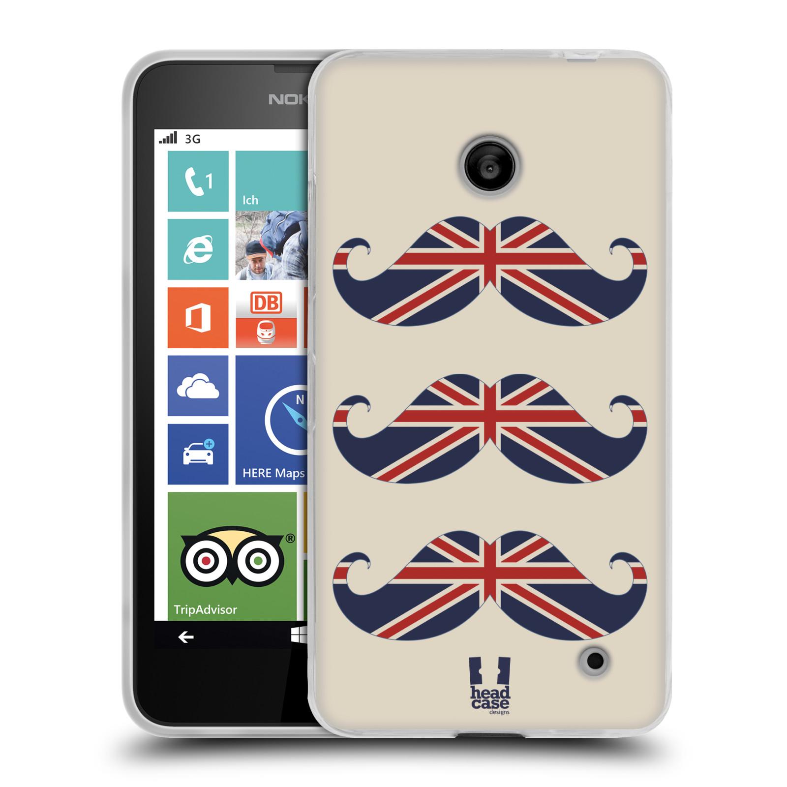 Silikonové pouzdro na mobil Nokia Lumia 630 HEAD CASE BRITSKÉ KNÍRY (Silikonový kryt či obal na mobilní telefon Nokia Lumia 630 a Nokia Lumia 630 Dual SIM)