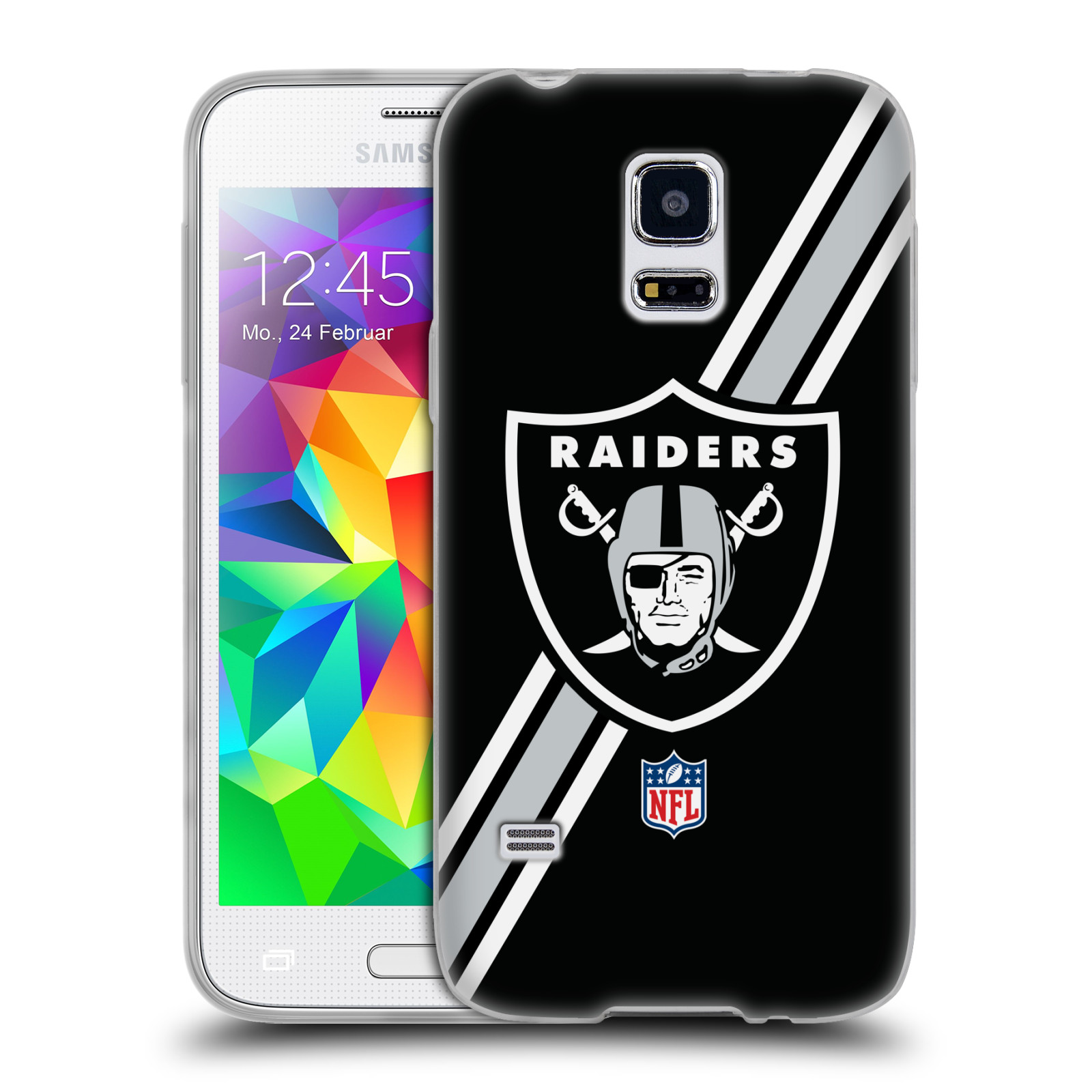 Silikonové pouzdro na mobil Samsung Galaxy S5 Mini HEAD CASE NFL - Oakland Raiders