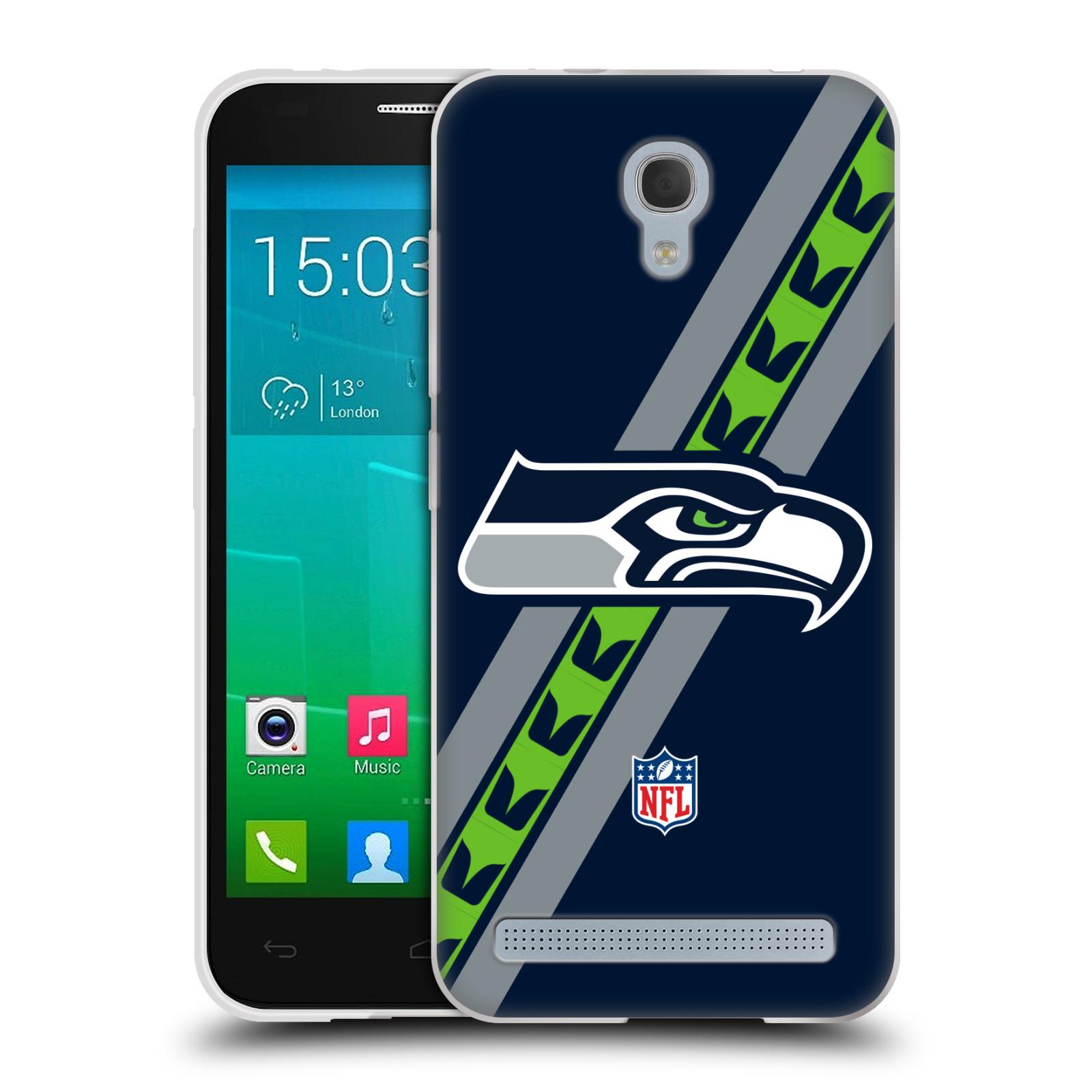 Silikonové pouzdro na mobil Alcatel One Touch Idol 2 Mini S 6036Y HEAD CASE NFL - Seattle Seahawks (Silikonový kryt či obal na mobilní telefon licencovaným motivem NFL pro Alcatel Idol 2 Mini S OT-6036Y)