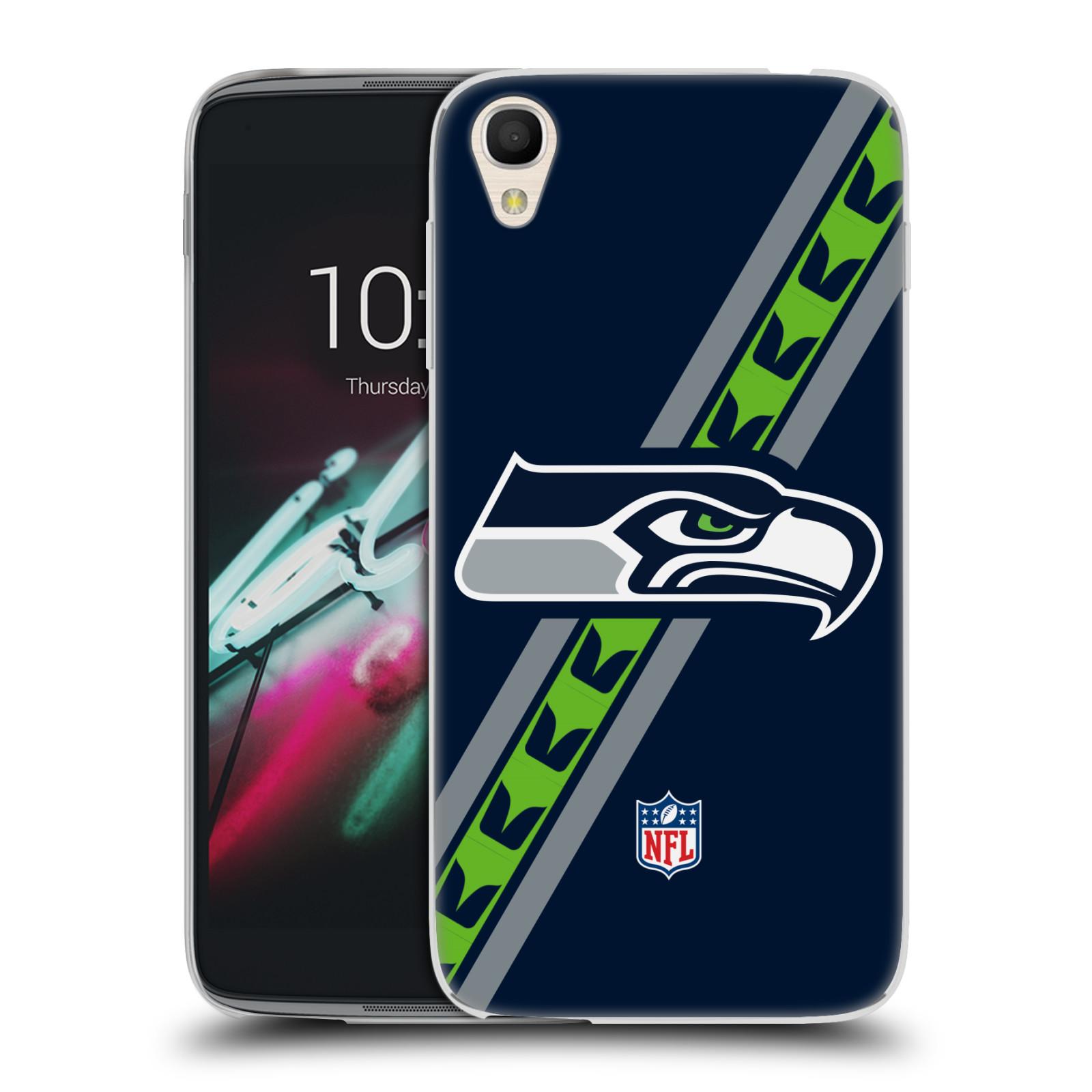 """Silikonové pouzdro na mobil Alcatel One Touch 6039Y Idol 3 HEAD CASE NFL - Seattle Seahawks (Silikonový kryt či obal na mobilní telefon licencovaným motivem NFL pro Alcatel One Touch Idol 3 OT-6039Y s 4,7"""" displejem)"""