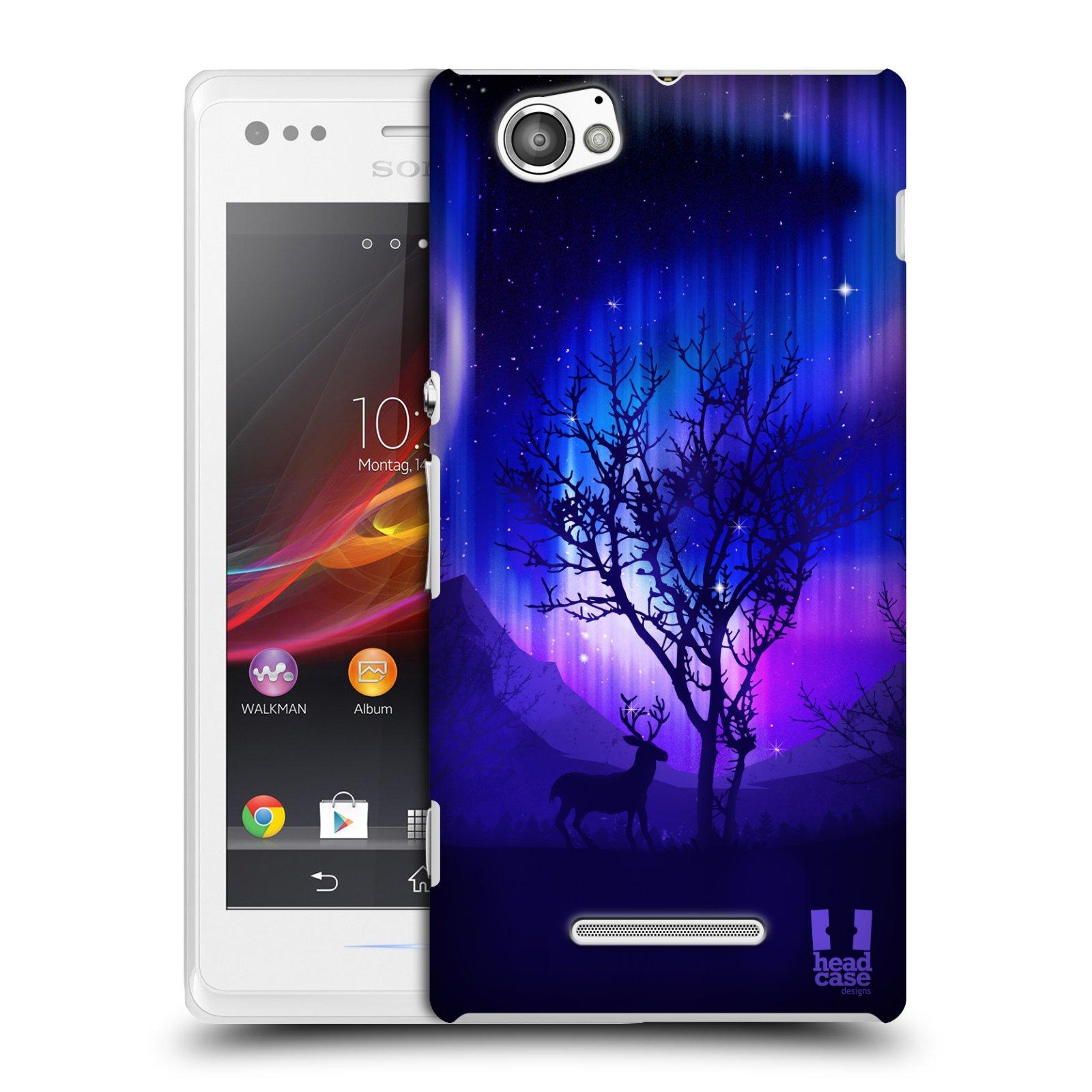 Plastové pouzdro na mobil Sony Xperia M C1905 HEAD CASE Polární Záře Strom (Kryt či obal na mobilní telefon Sony Xperia M )