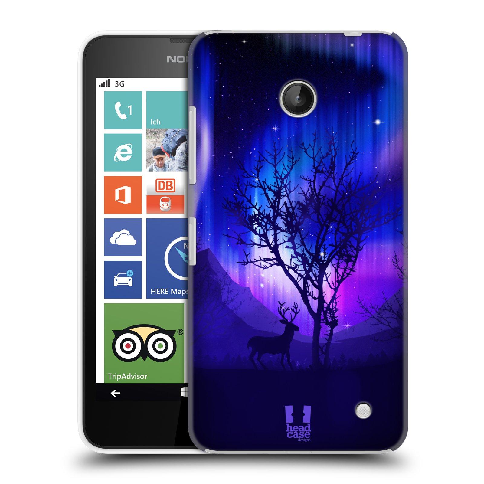 Plastové pouzdro na mobil Nokia Lumia 630 HEAD CASE Polární Záře Strom (Kryt či obal na mobilní telefon Nokia Lumia 630 a Nokia Lumia 630 Dual SIM)