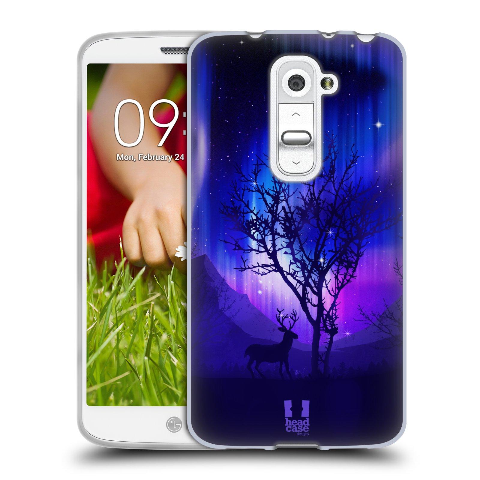 Silikonové pouzdro na mobil LG G2 Mini HEAD CASE Polární Záře Strom (Silikonový kryt či obal na mobilní telefon LG G2 Mini D620)
